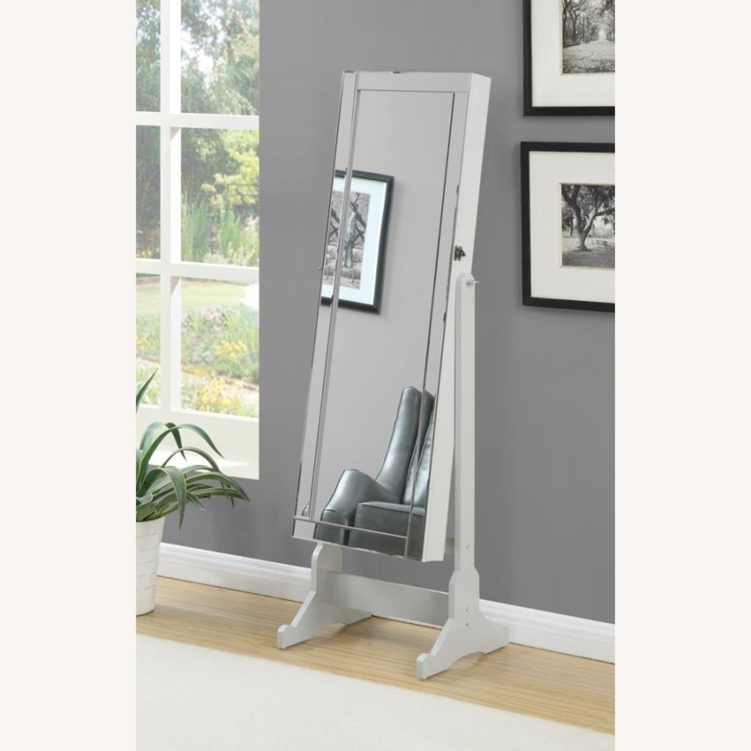 Tilting Jewelry Mirror In Dove Grey Finish - image-2
