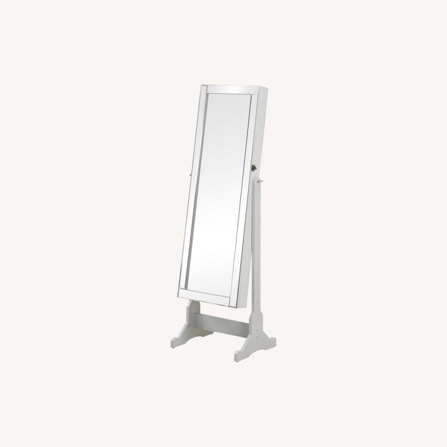 Jewelry Cheval Mirror In White Finish - image-3