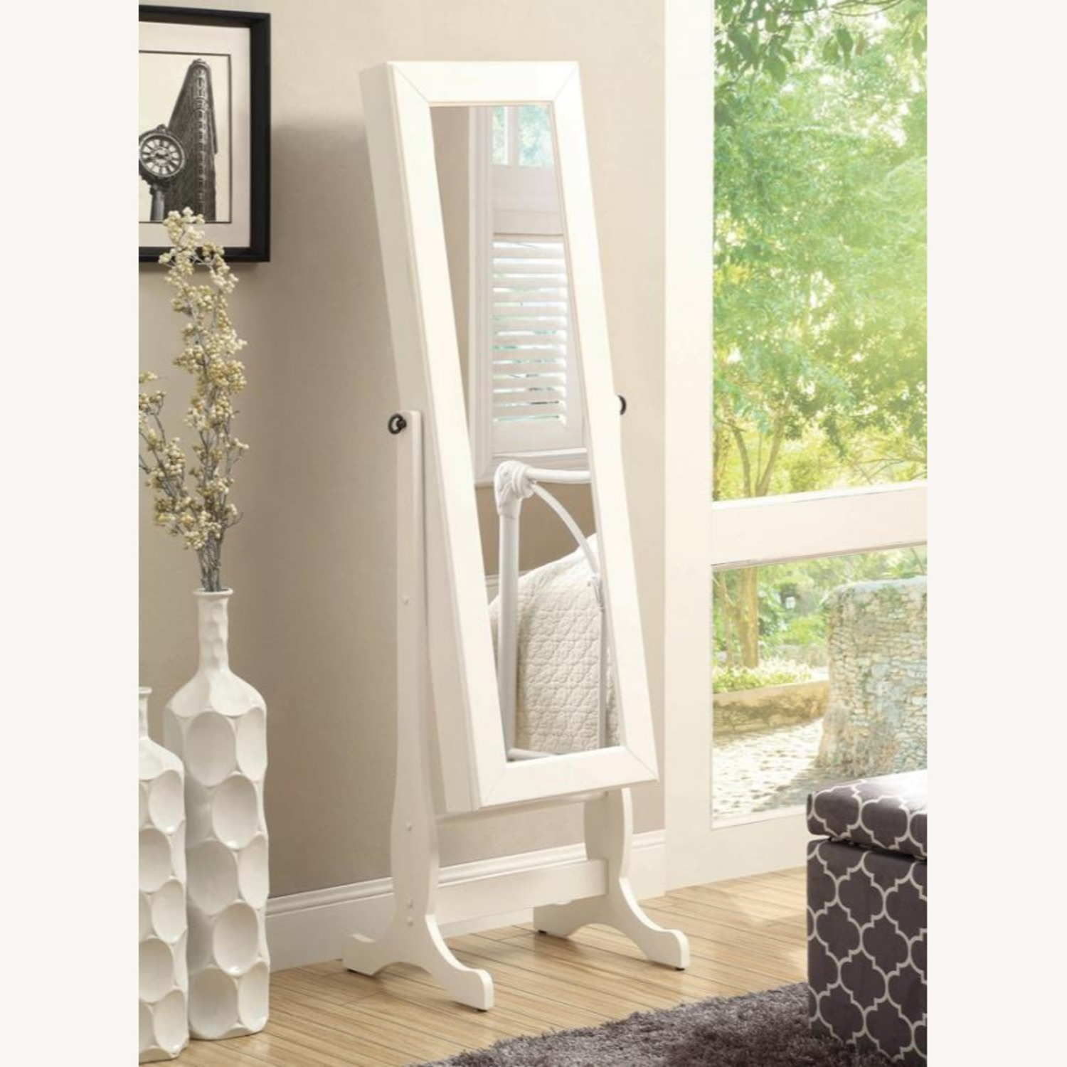 Jewelry Cheval Mirror In White Finish - image-2