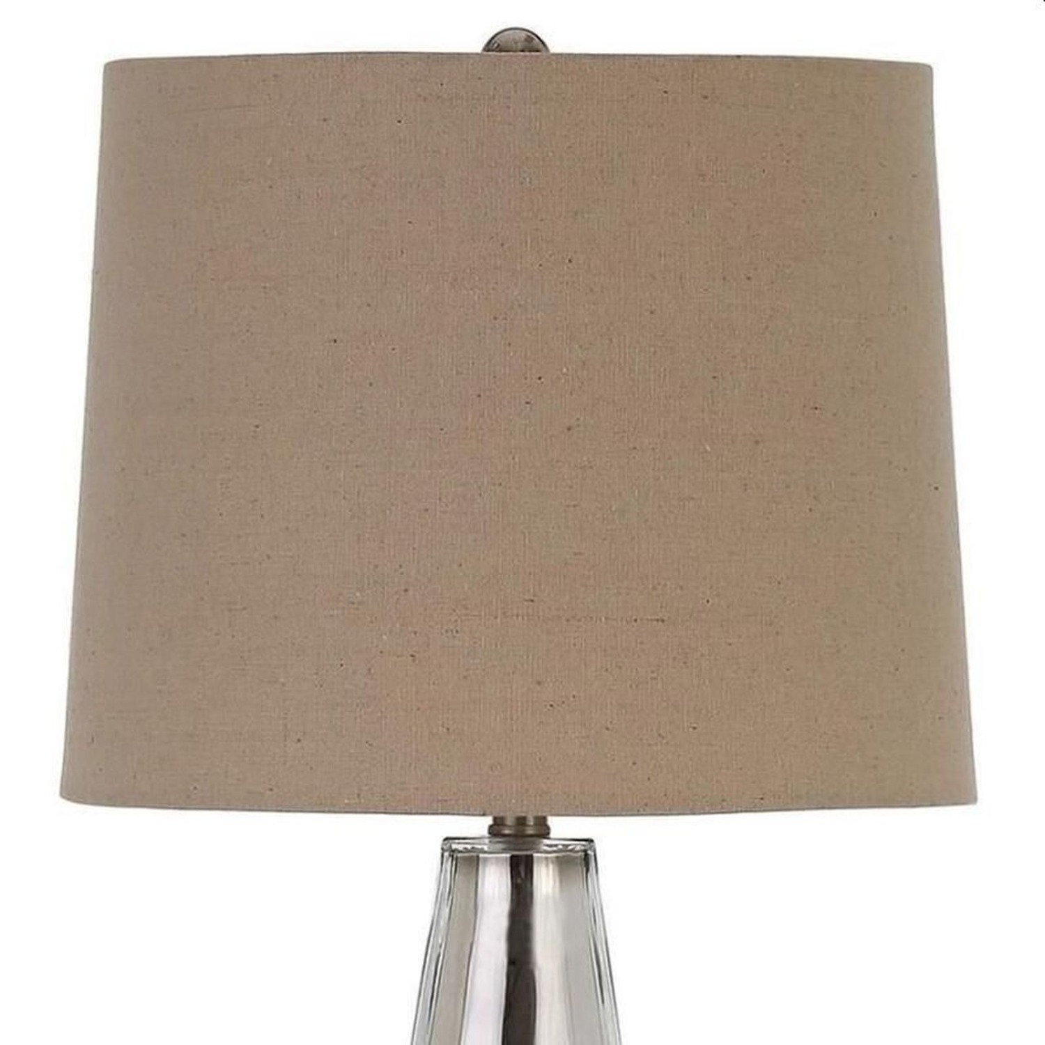 Table Lamp W/ Crystal-Like Base In Creamy White - image-1
