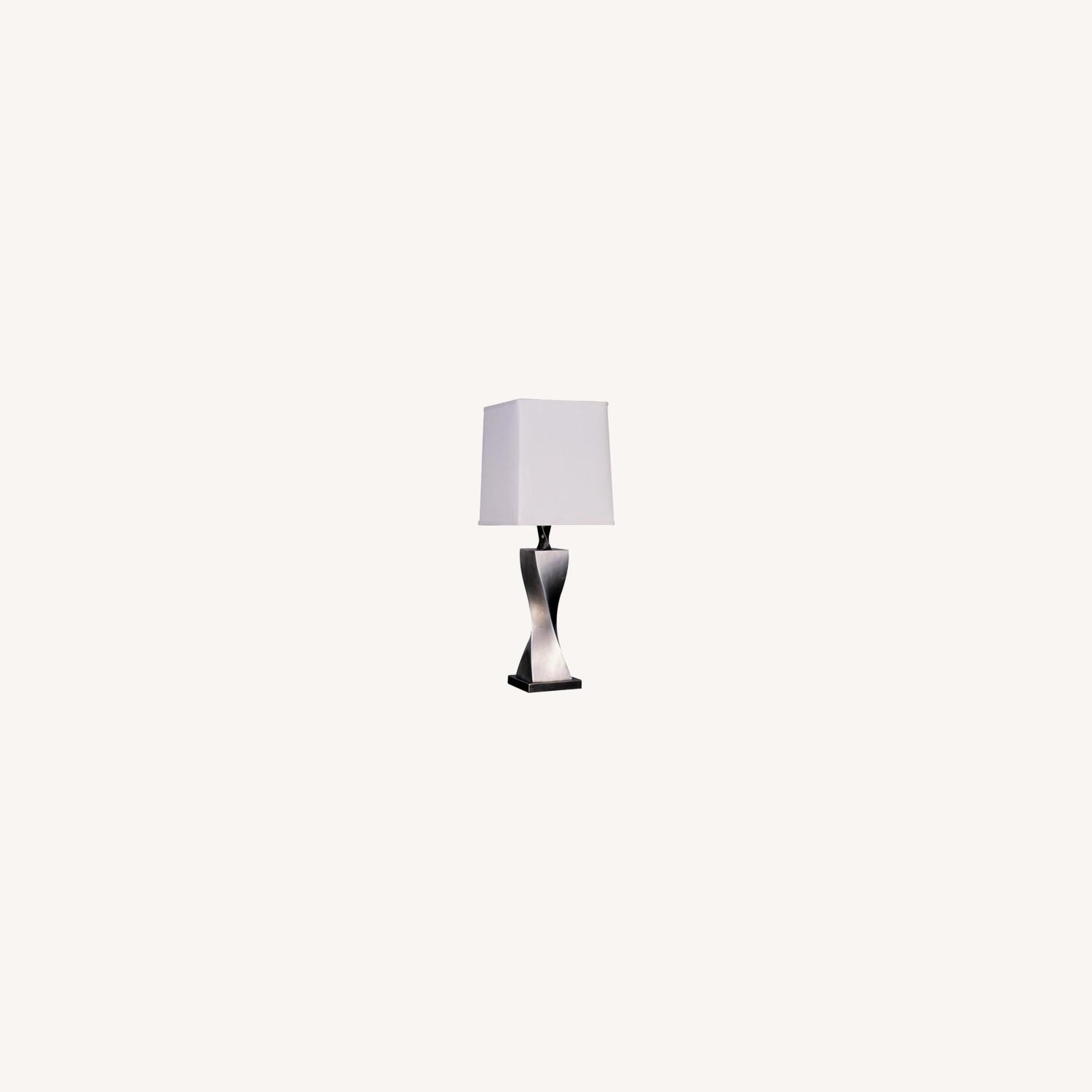 Table Lamp W/ Twisted Brick Design In Silver - image-3