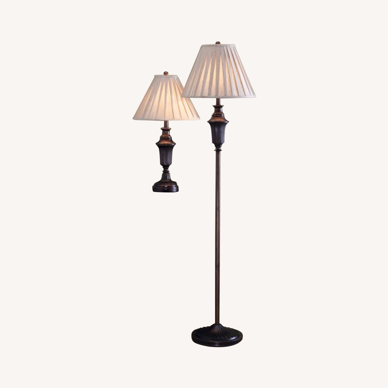 3-Pcs Lamp Set In Dark Brown Metal Finish - image-3