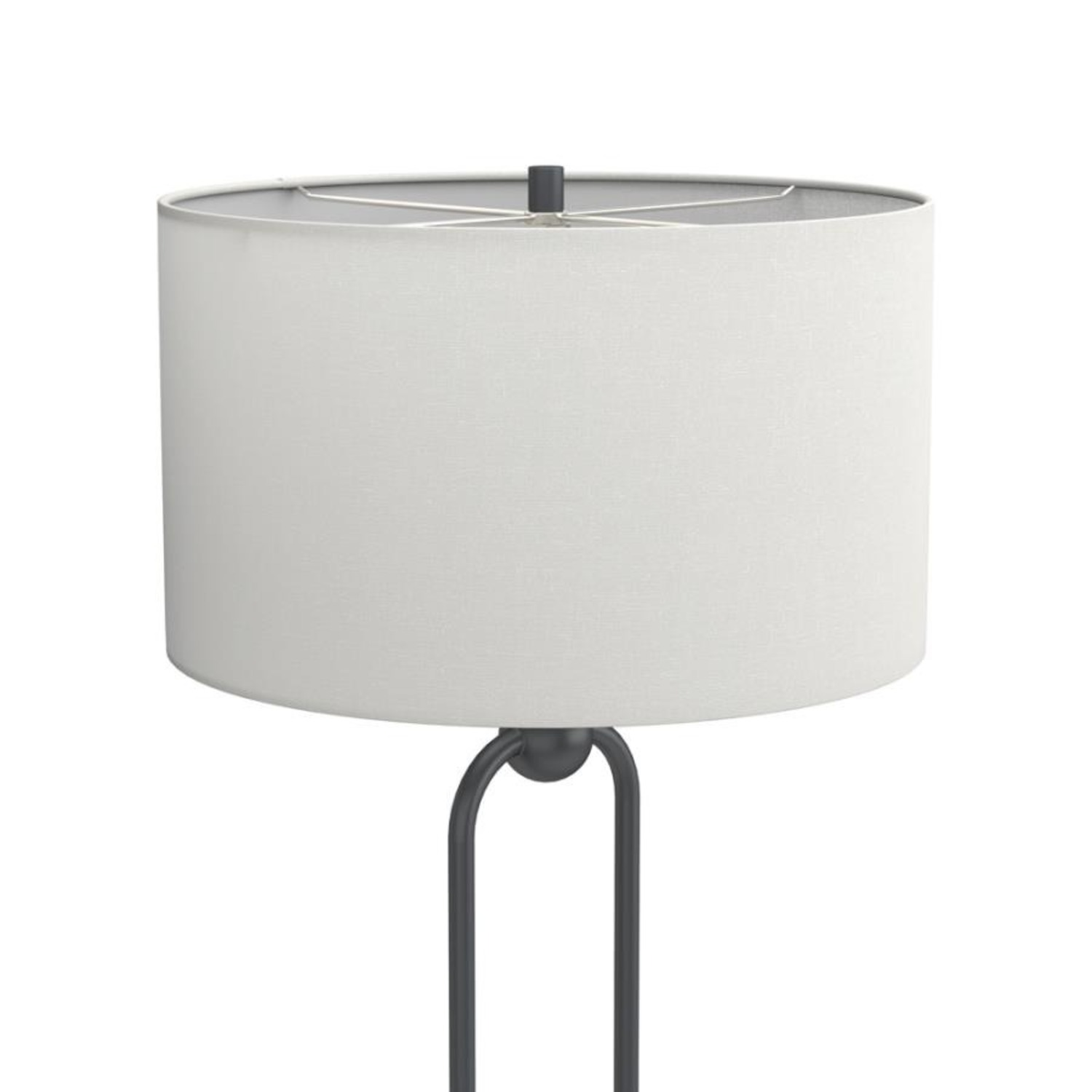 Floor Lamp W White Linen Drum Shade - image-2