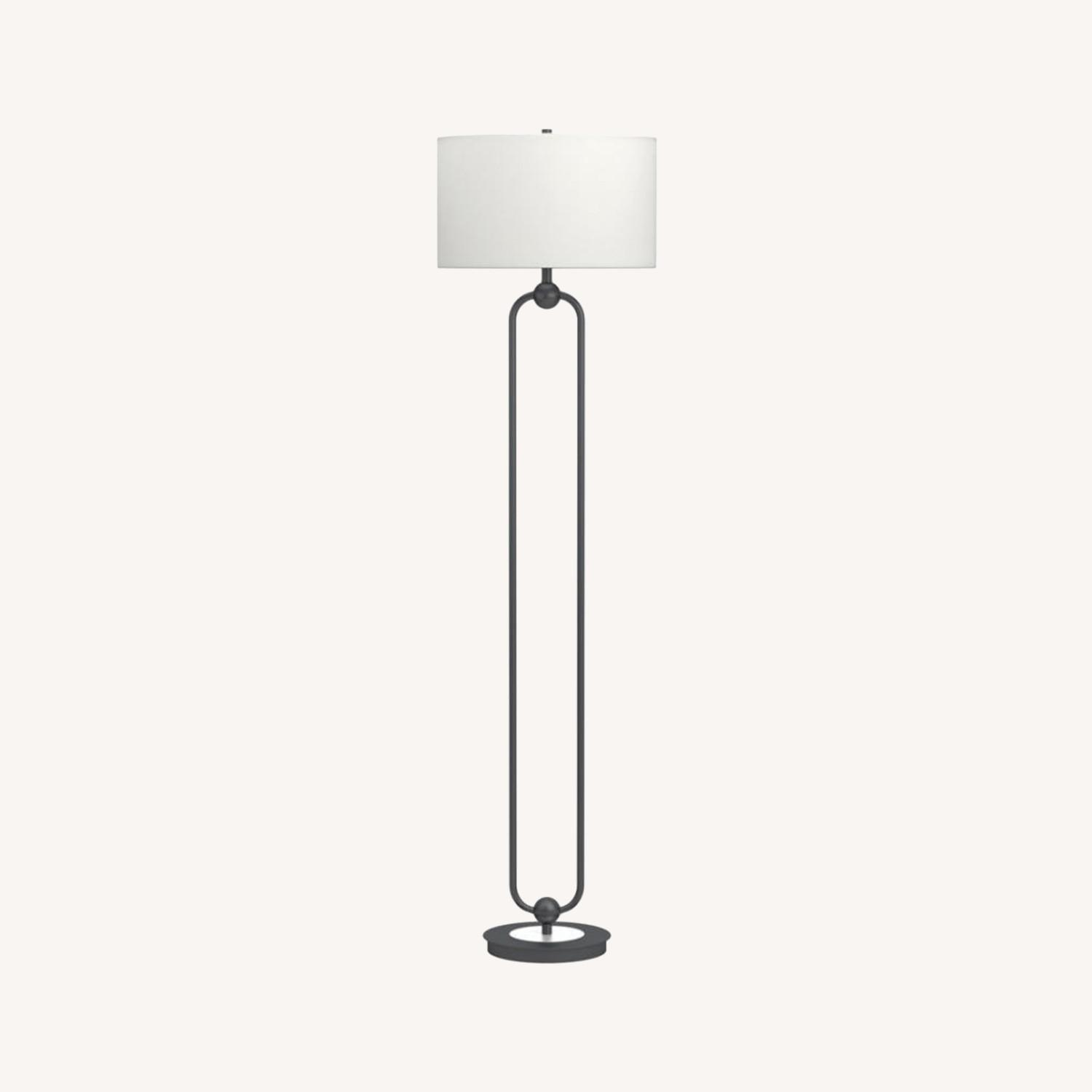 Floor Lamp W White Linen Drum Shade - image-3