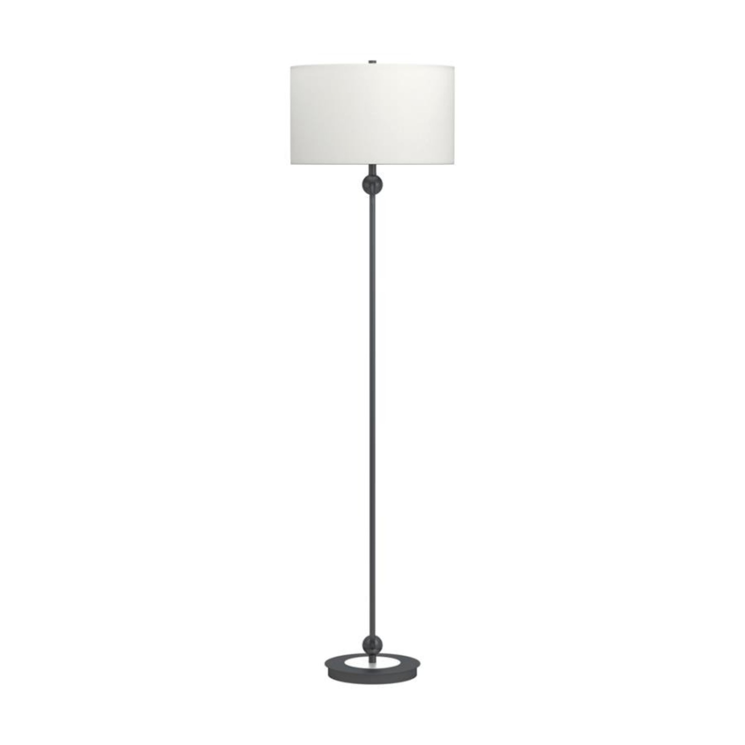Floor Lamp W White Linen Drum Shade - image-1