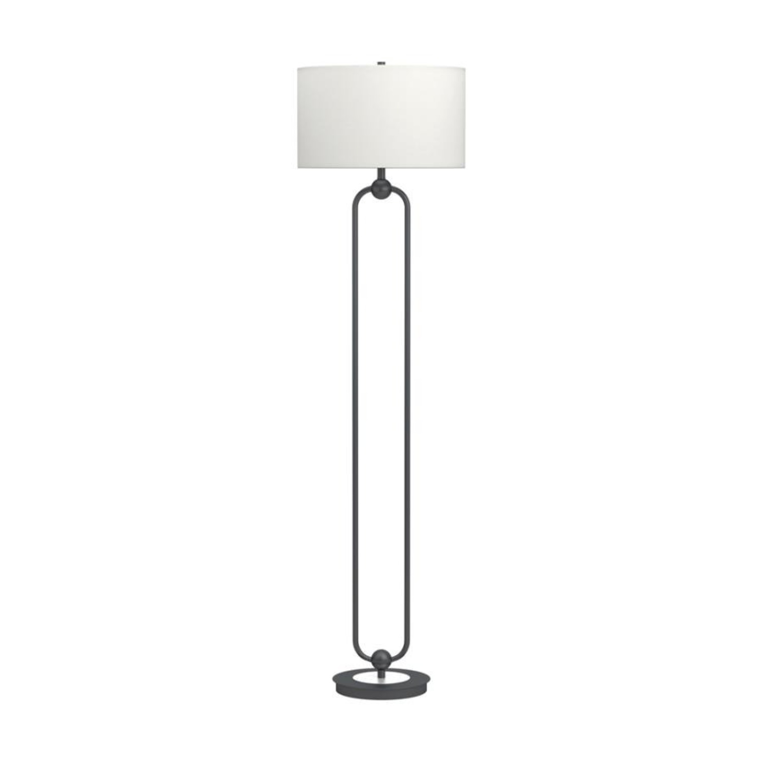 Floor Lamp W White Linen Drum Shade - image-0