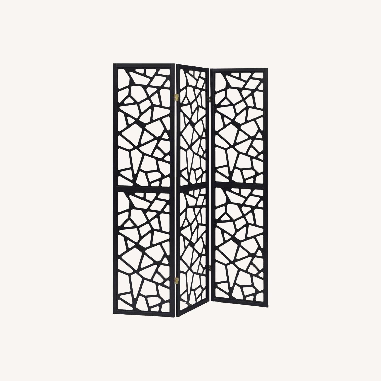 Three Panel Folding Screen In Black Finish - image-4