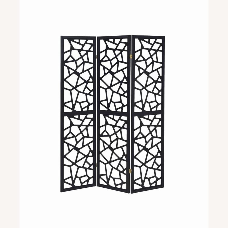 Three Panel Folding Screen In Black Finish - image-1