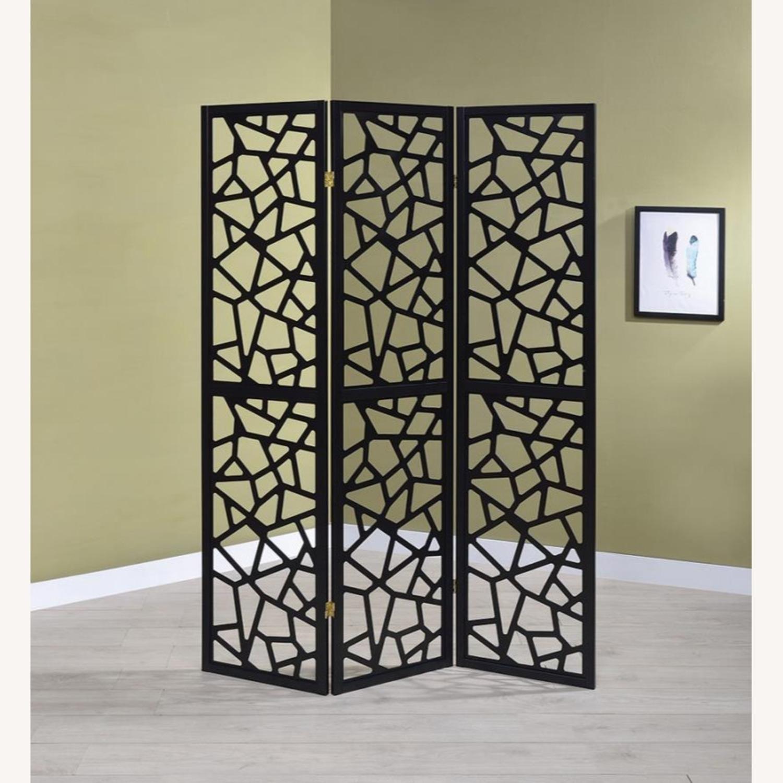 Three Panel Folding Screen In Black Finish - image-3