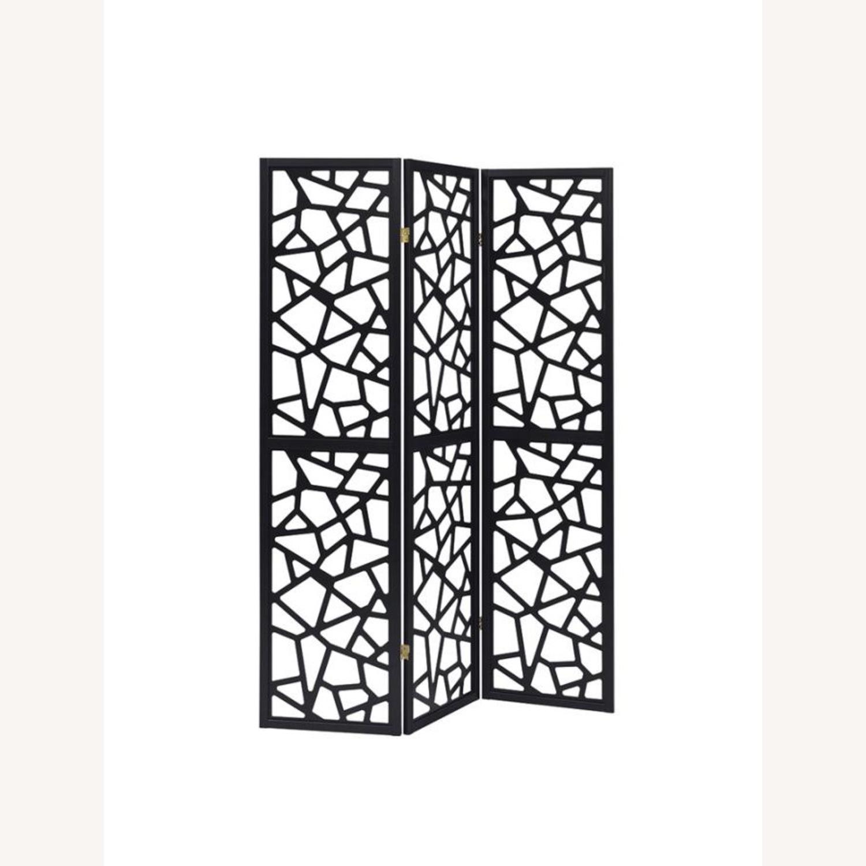 Three Panel Folding Screen In Black Finish - image-0