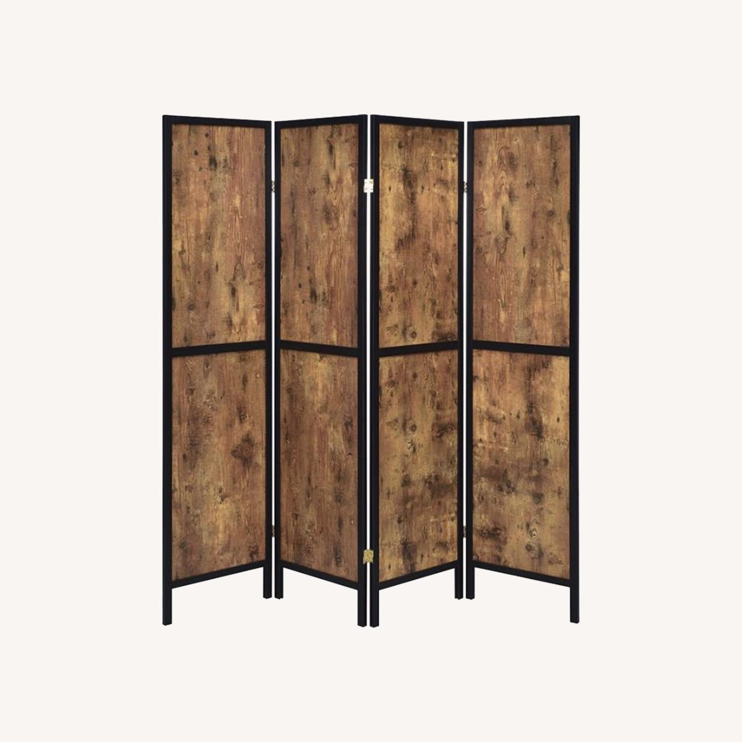 Four-Panel Folding Screen In Antique Nutmeg - image-4