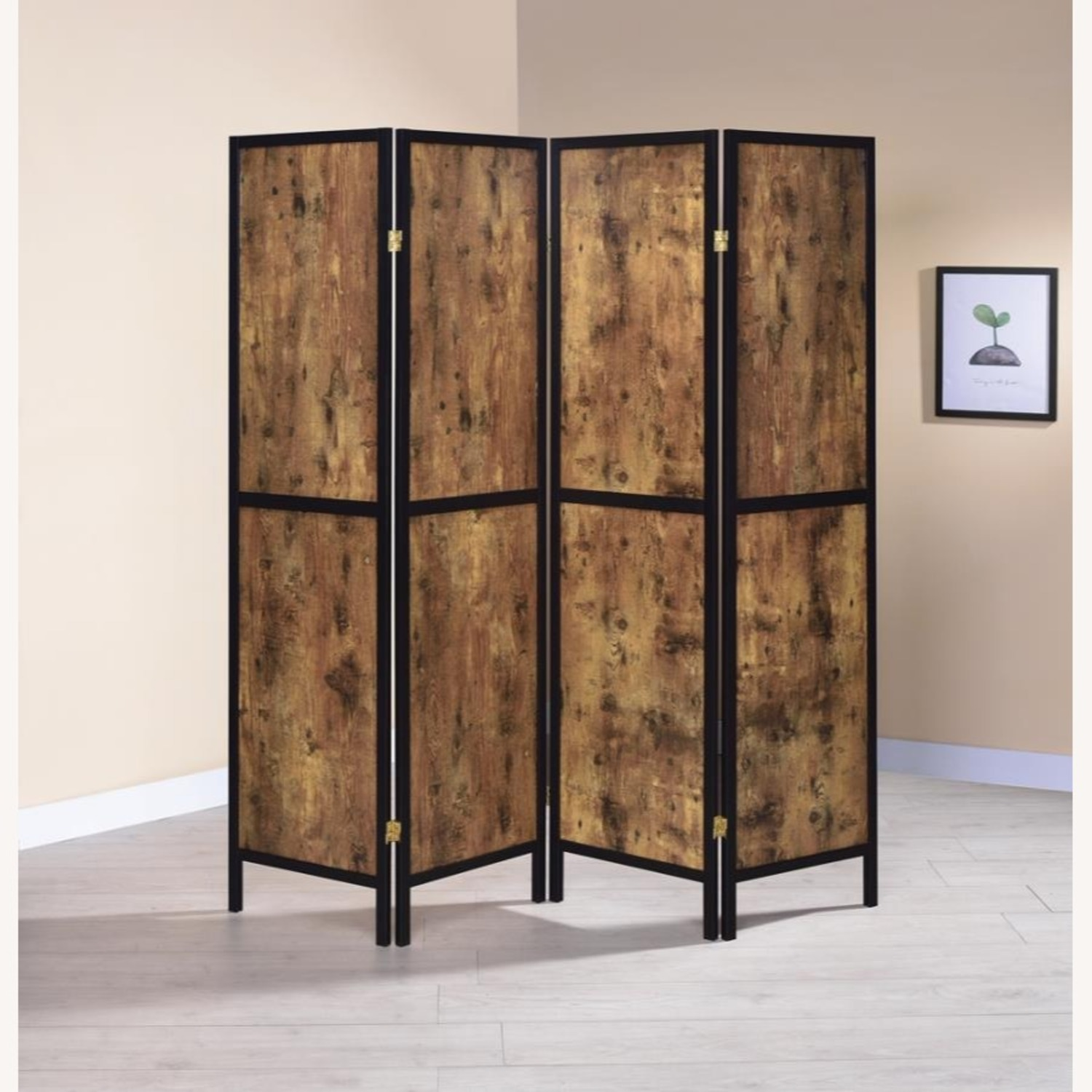 Four-Panel Folding Screen In Antique Nutmeg - image-3
