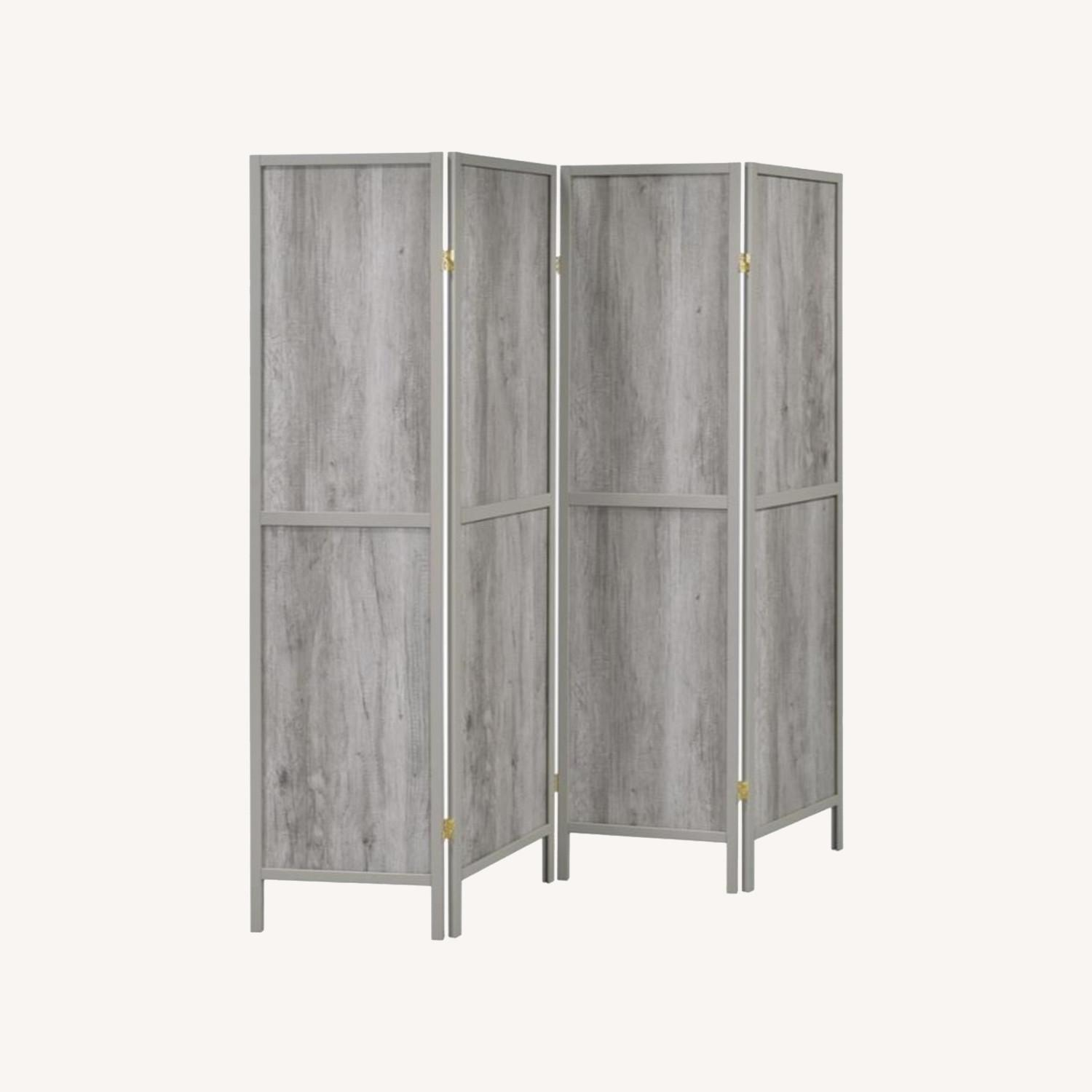 Four-Panel Folding Screen In Grey Driftwood Finish - image-4