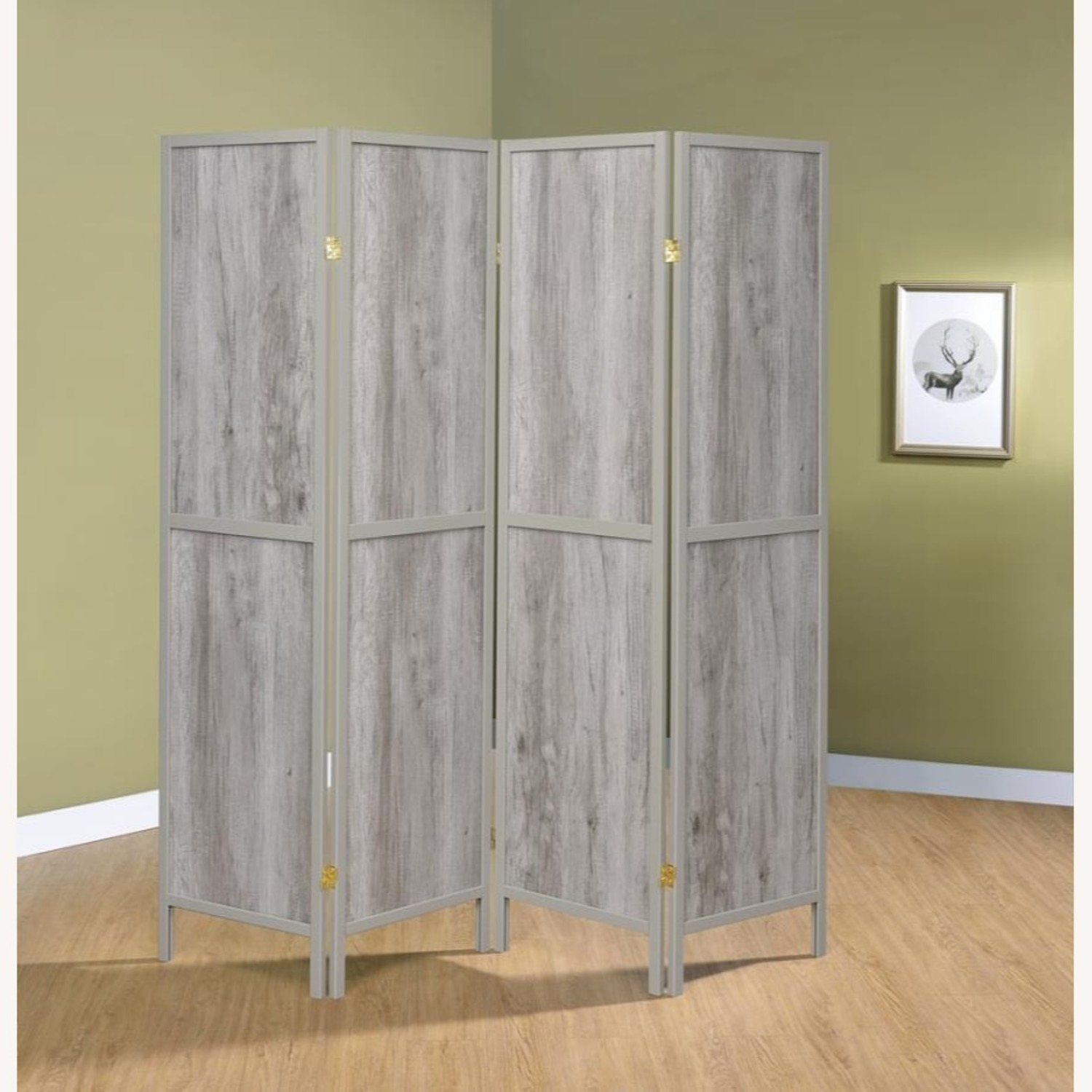 Four-Panel Folding Screen In Grey Driftwood Finish - image-3