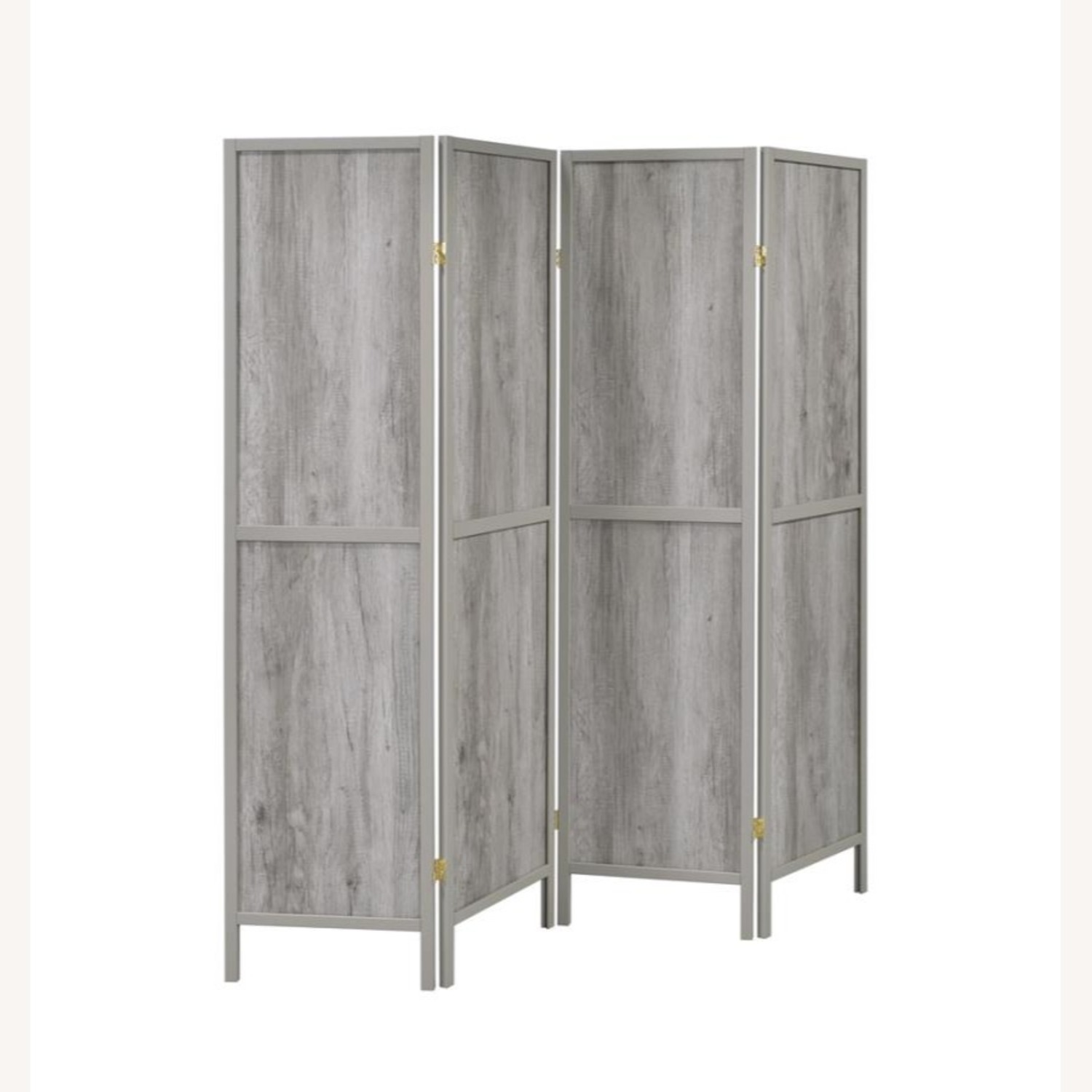 Four-Panel Folding Screen In Grey Driftwood Finish - image-1