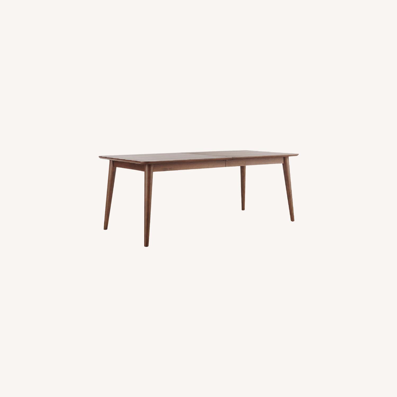 Crate & Barrel Walnut Extendable Midcentury Table - image-0