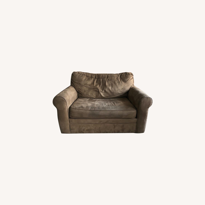 Brown Suede Sofa - image-0