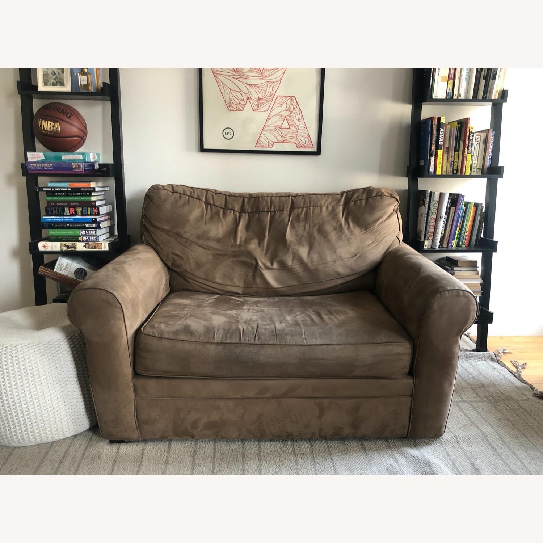 Brown Suede Sofa - image-1