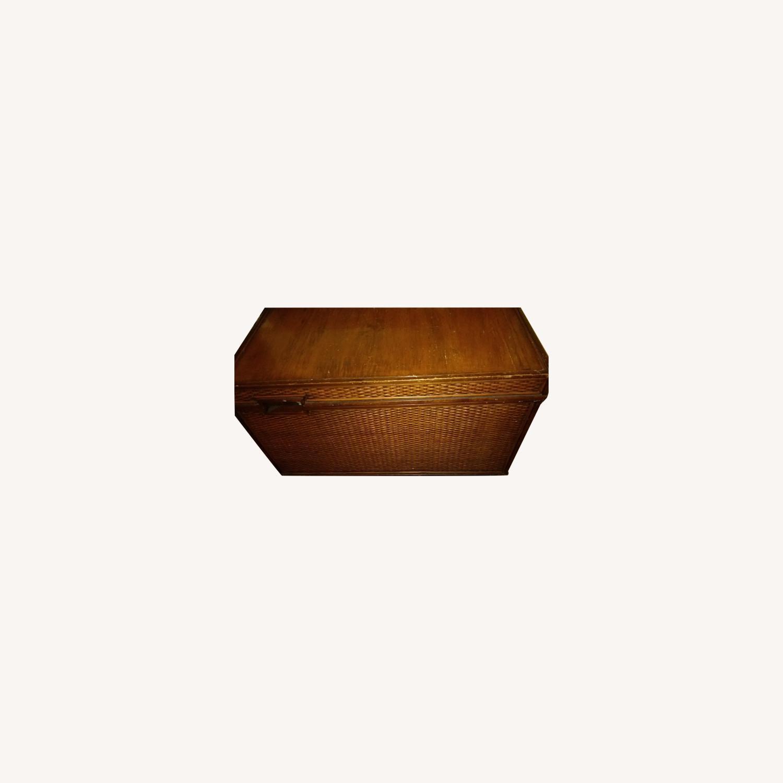 Oak and Wicker Storage Trunk - image-0