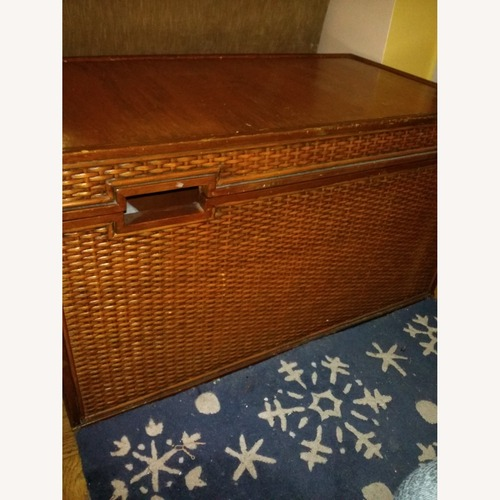Used Oak and Wicker Storage Trunk for sale on AptDeco