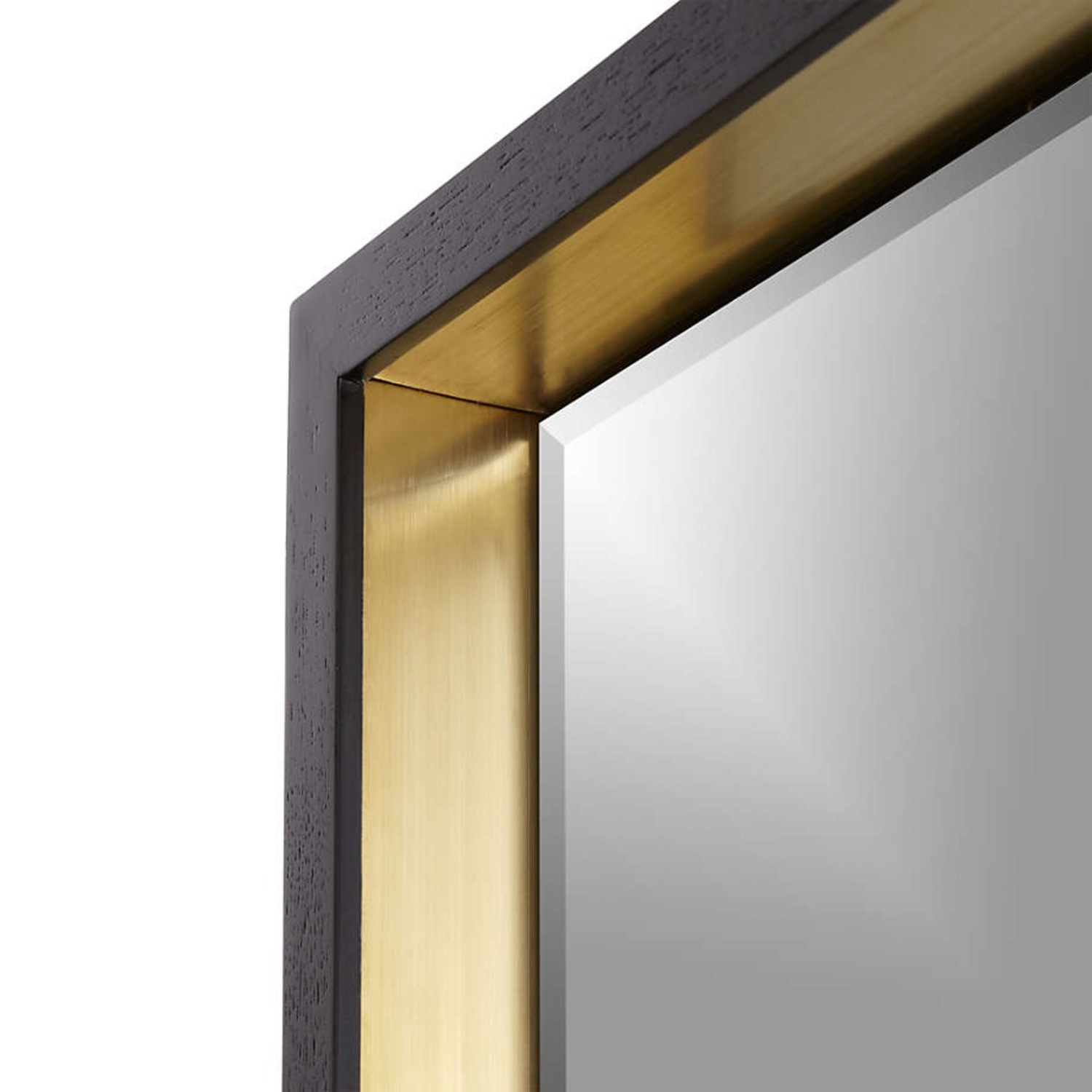 Crate & Barrel Liam Frame Floor Mirror with Brass Inlay - image-2