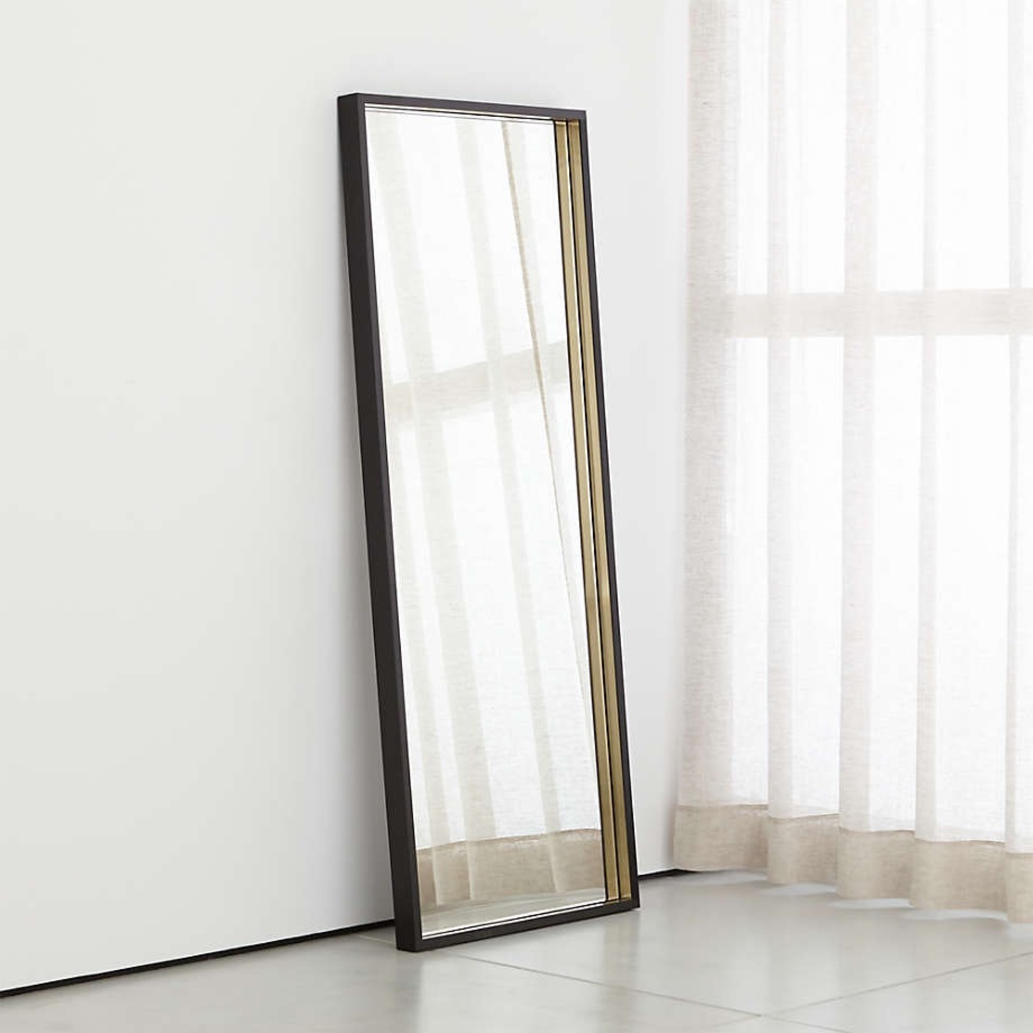 Crate & Barrel Liam Frame Floor Mirror with Brass Inlay - image-1