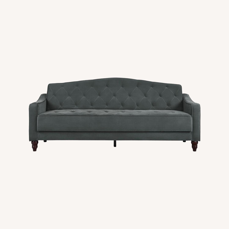 Wayfair Grey Velvet Sofa - image-0