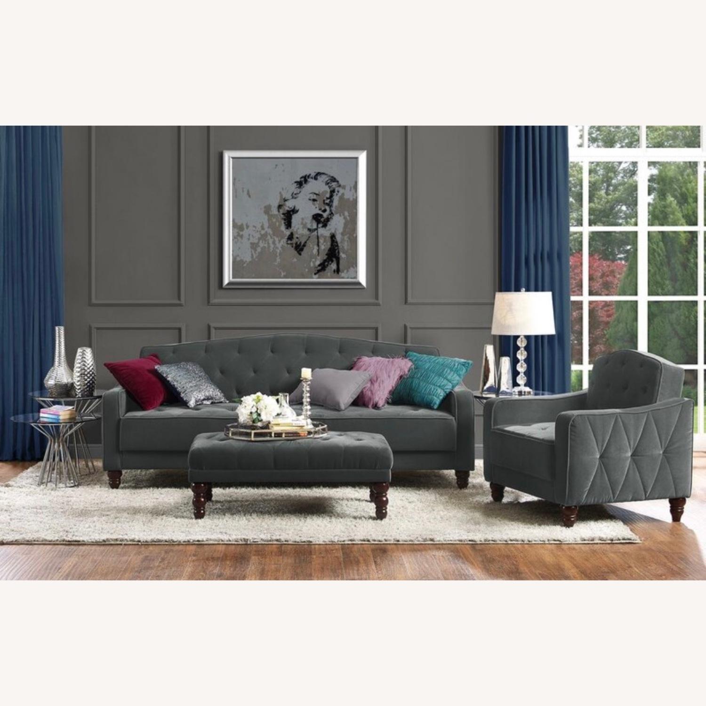 Wayfair Grey Velvet Sofa - image-5