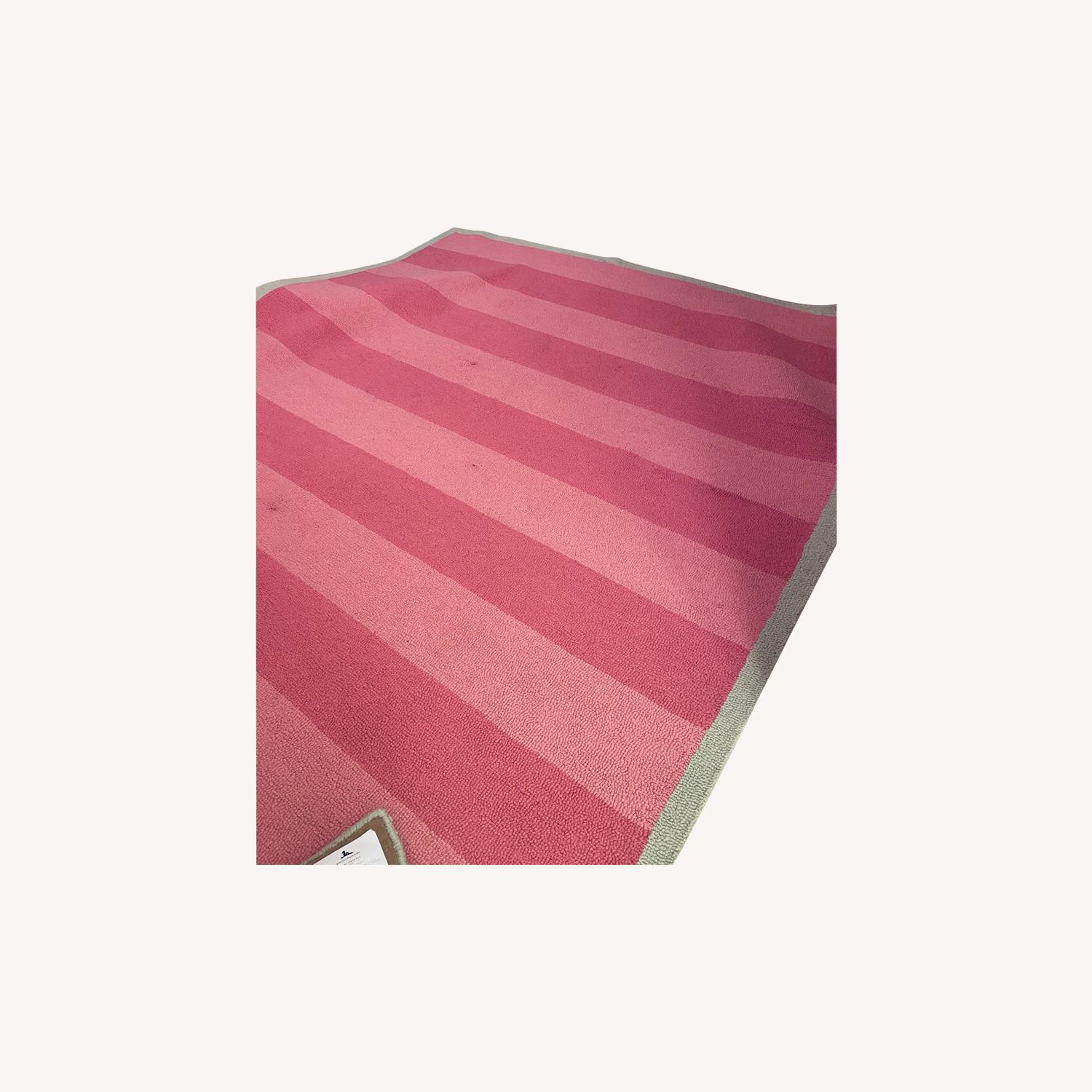 Pottery Barn Kids Pink and Green Striped Rug - image-0