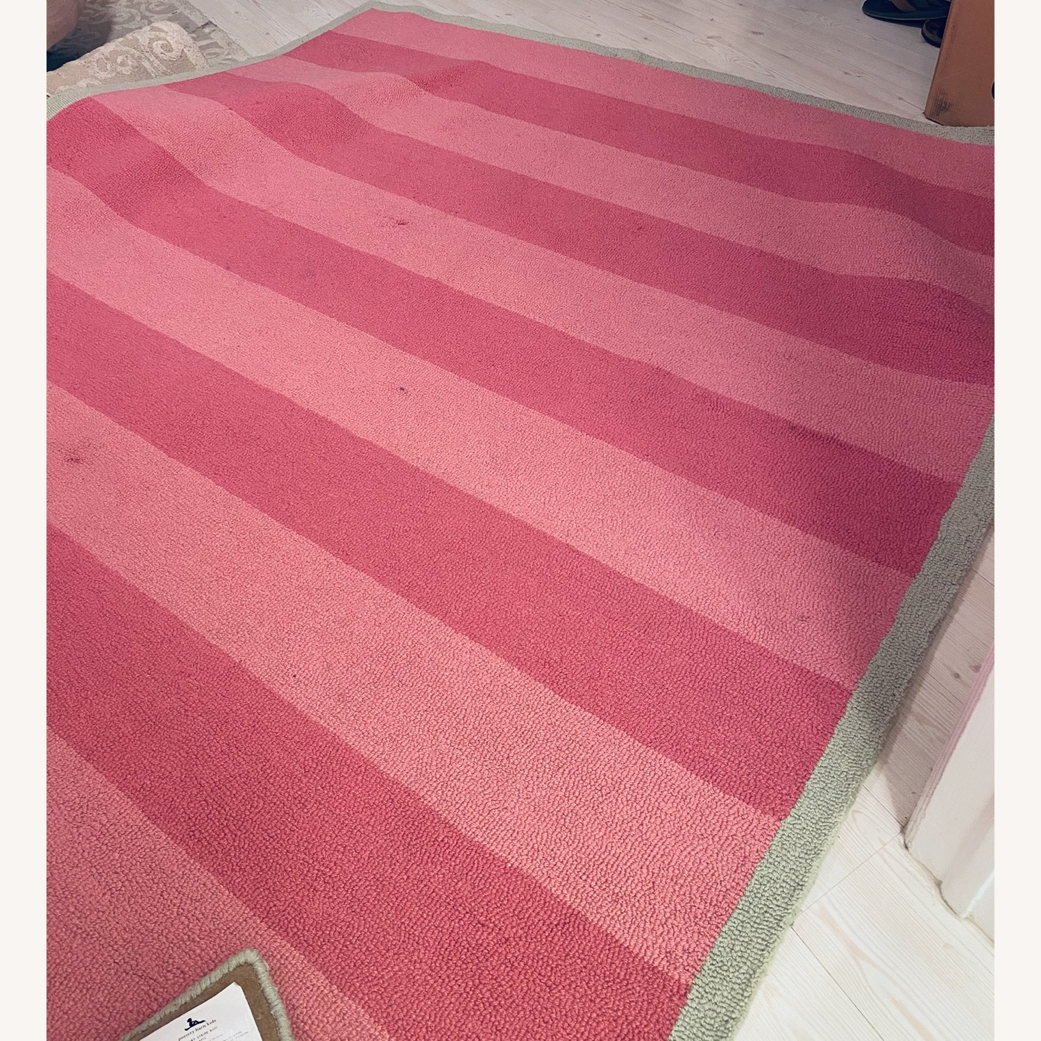 Pottery Barn Kids Pink and Green Striped Rug - image-2