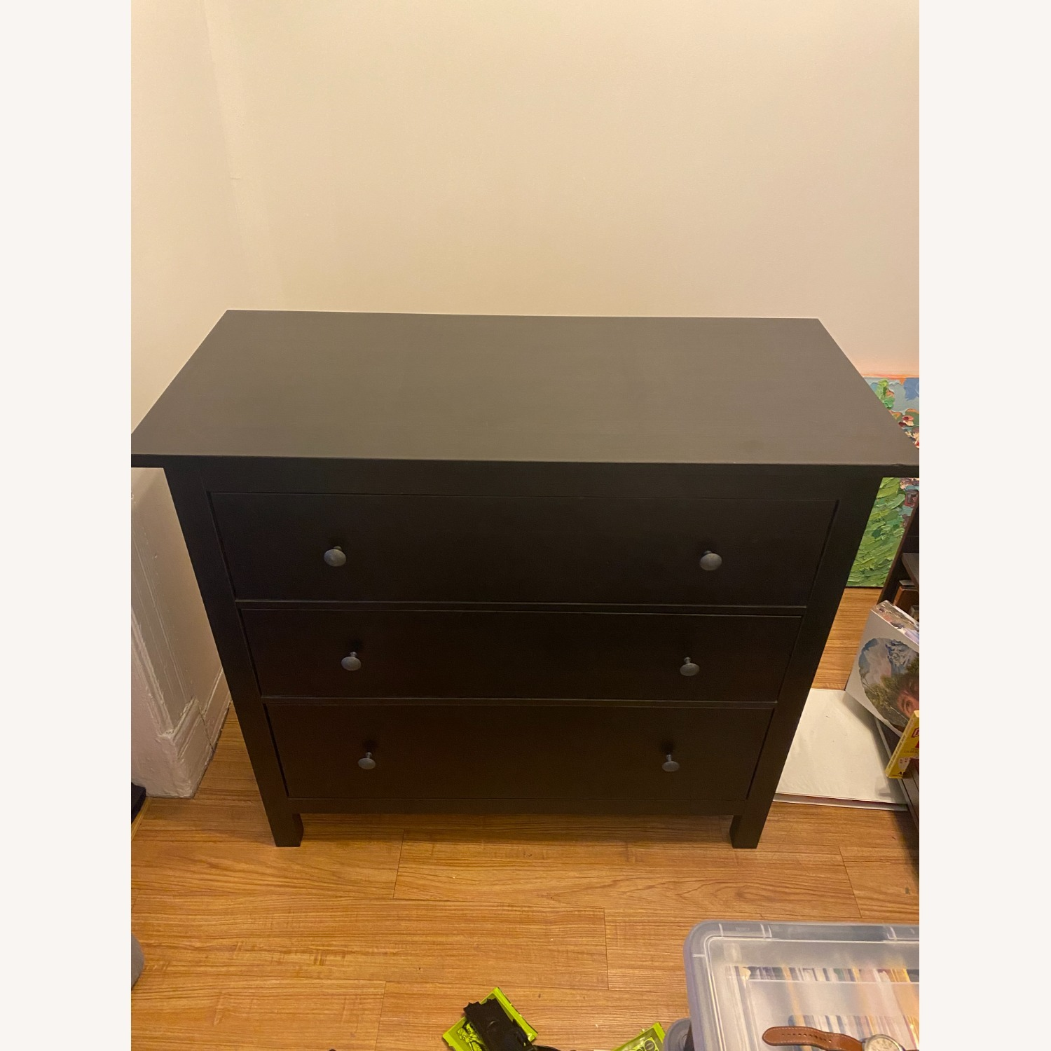 IKEA Black-Brown Three Drawer Wood Credenza - image-1
