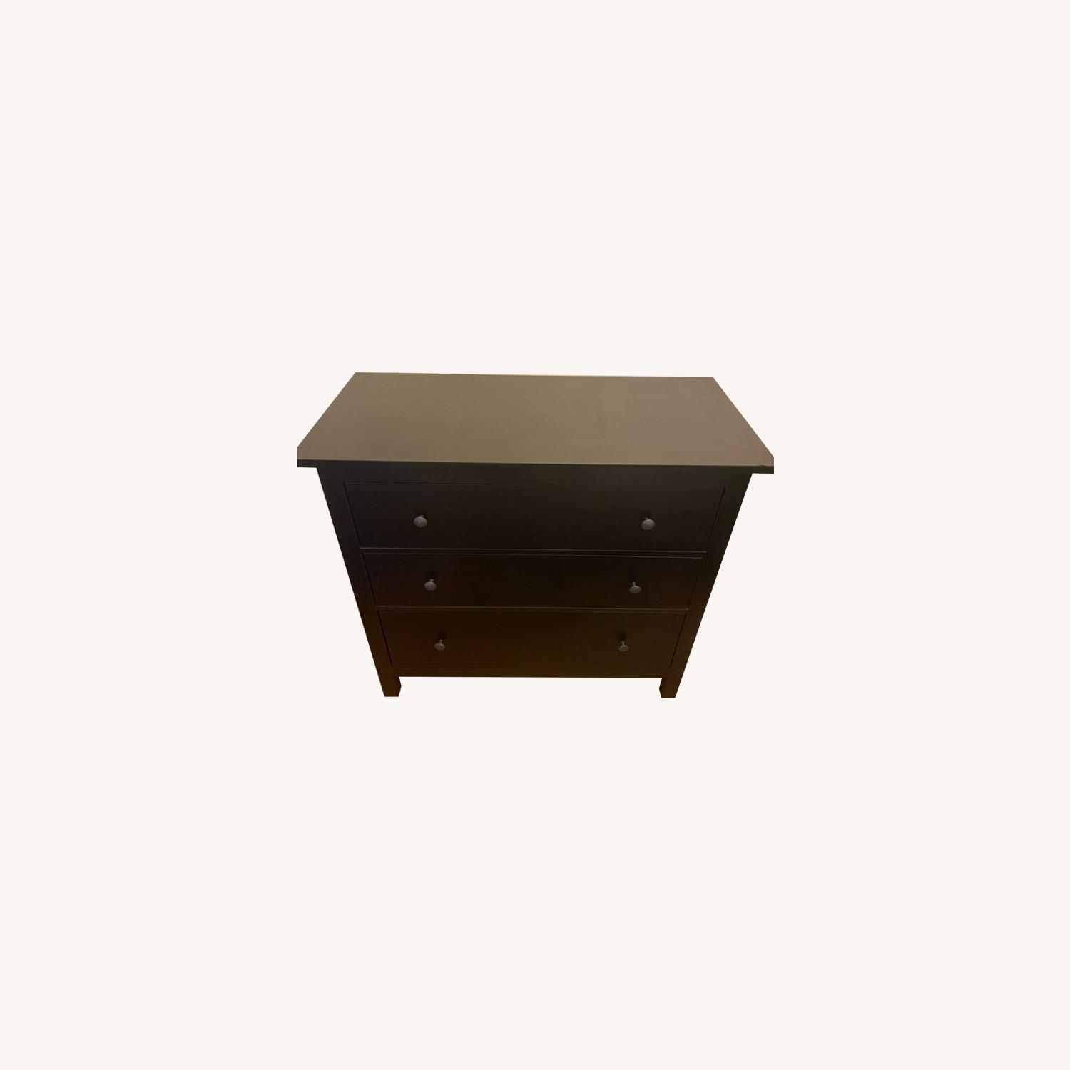 IKEA Black-Brown Three Drawer Wood Credenza - image-0