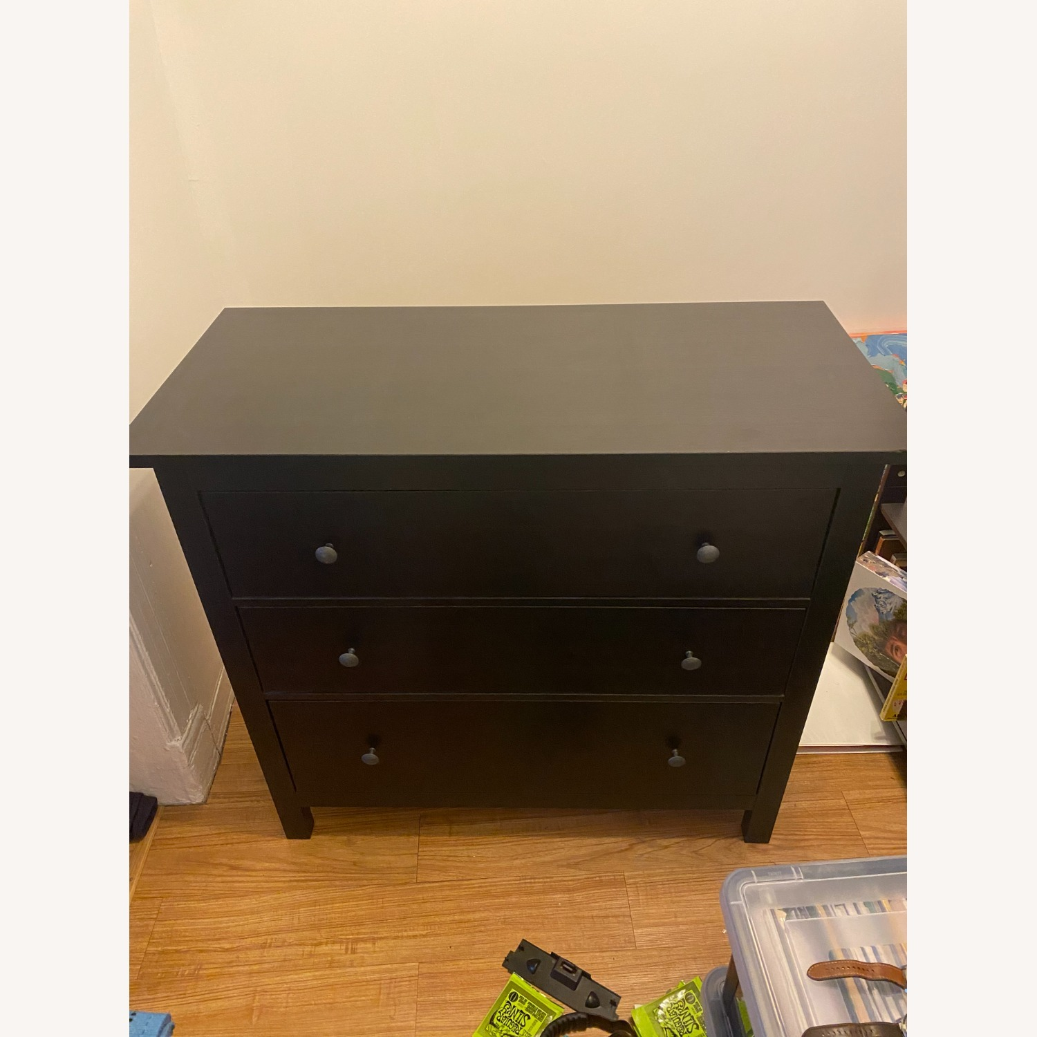 IKEA Black-Brown Three Drawer Wood Credenza - image-7