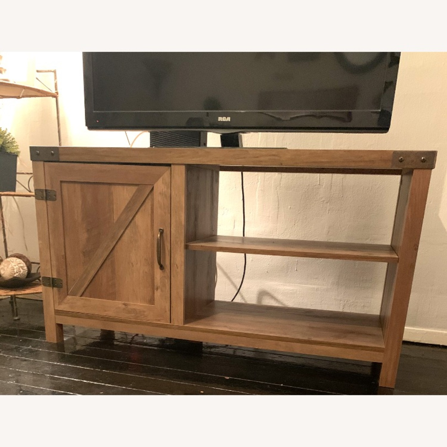 Pier 1 Rustic Farmhouse Barn Door TV Stand - image-2