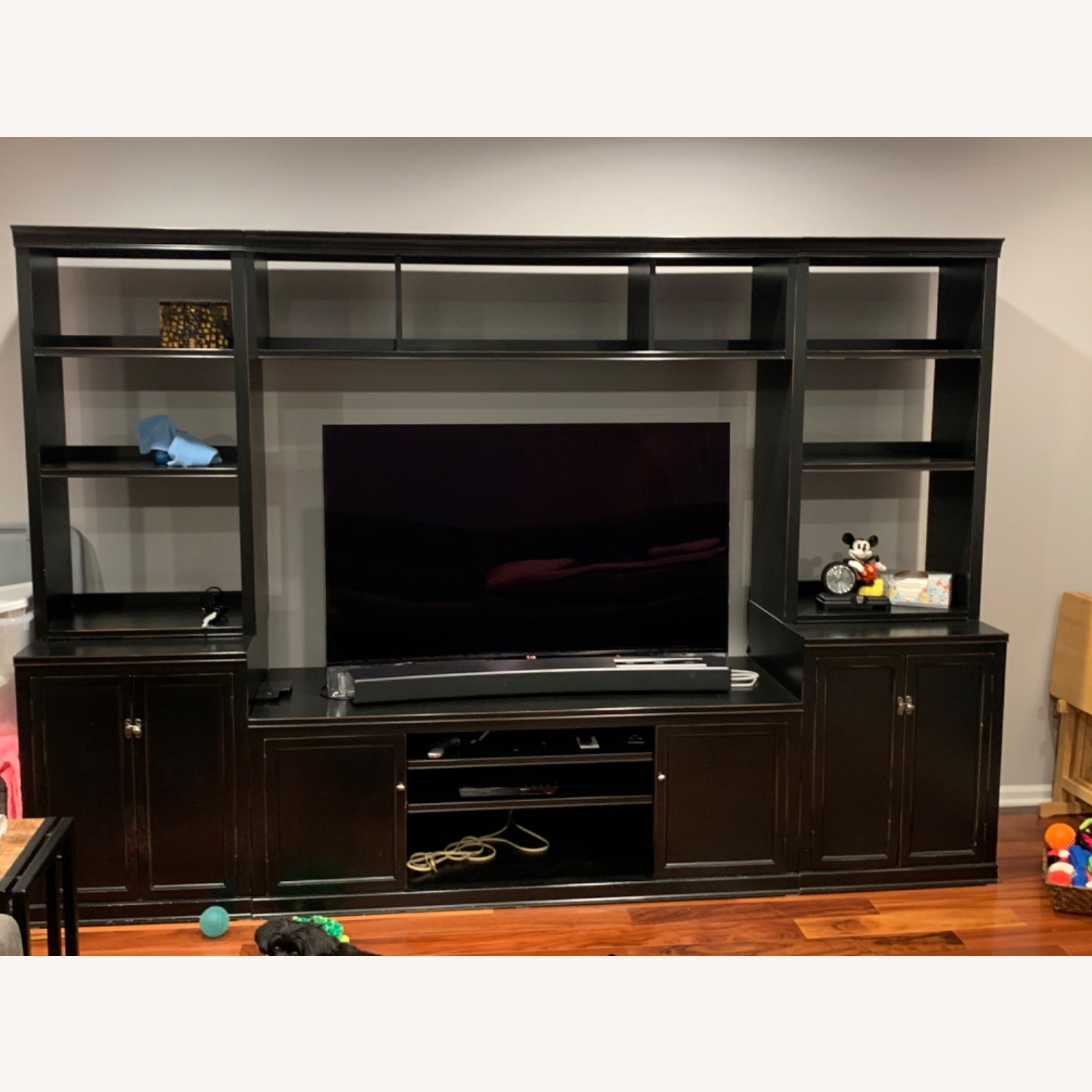 Pottery Barn Logan Entertainment Center Black Aptdeco