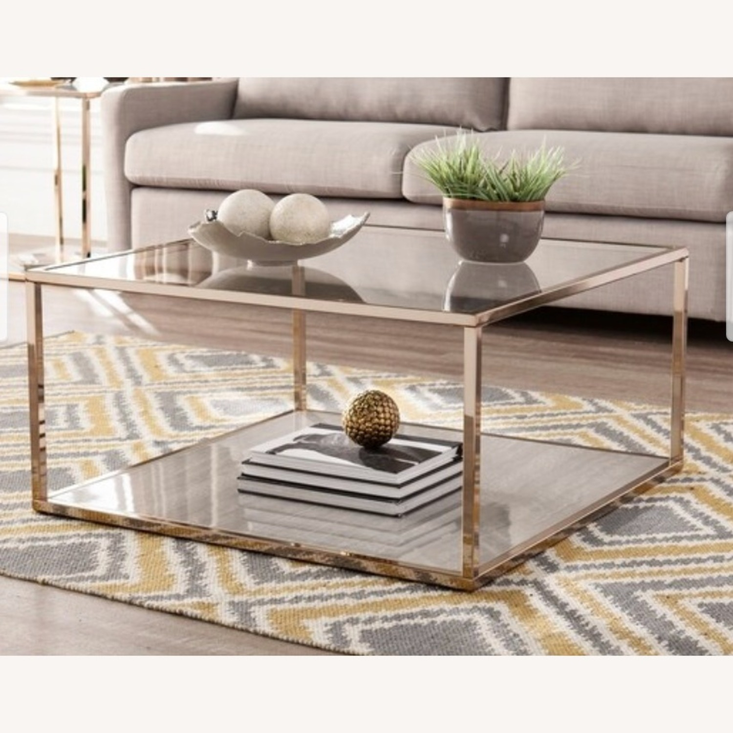Silver Orchid Grey Faux Marble Coffee Table - image-0