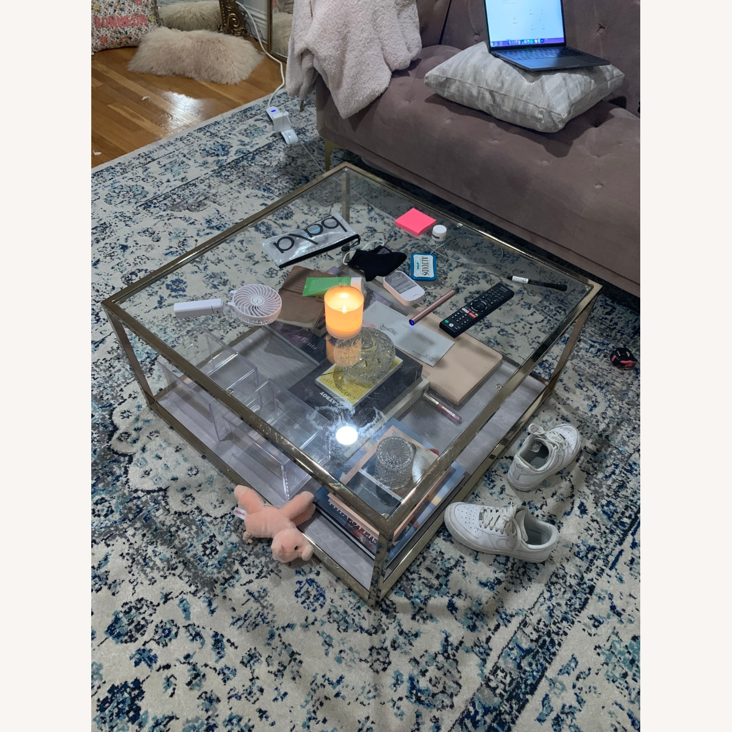 Silver Orchid Grey Faux Marble Coffee Table - image-4