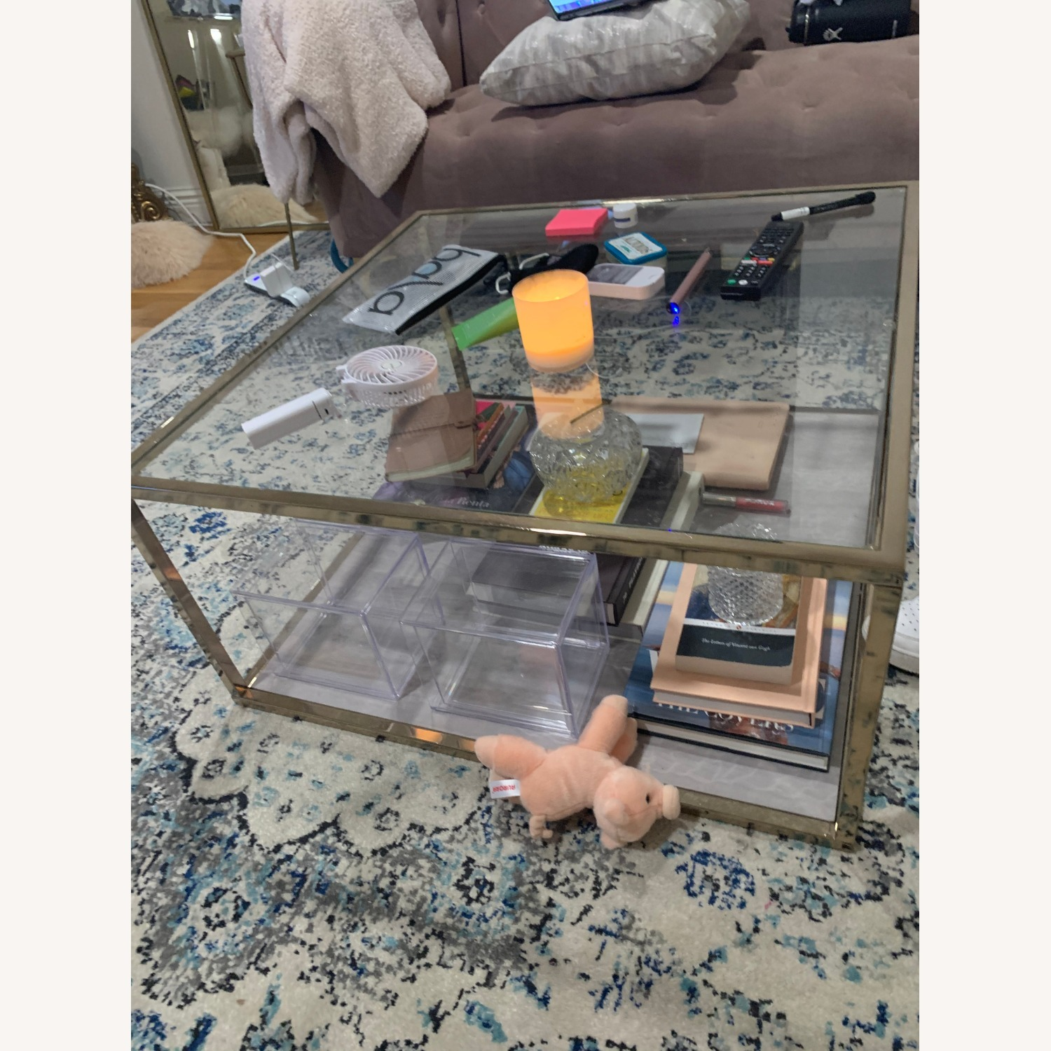 Silver Orchid Grey Faux Marble Coffee Table - image-3