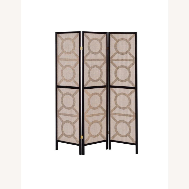 Folding Screen Panel In Tan Jute Fabric - image-1