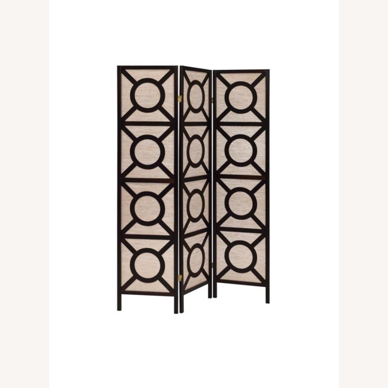 Folding Screen Panel In Tan Jute Fabric - image-0