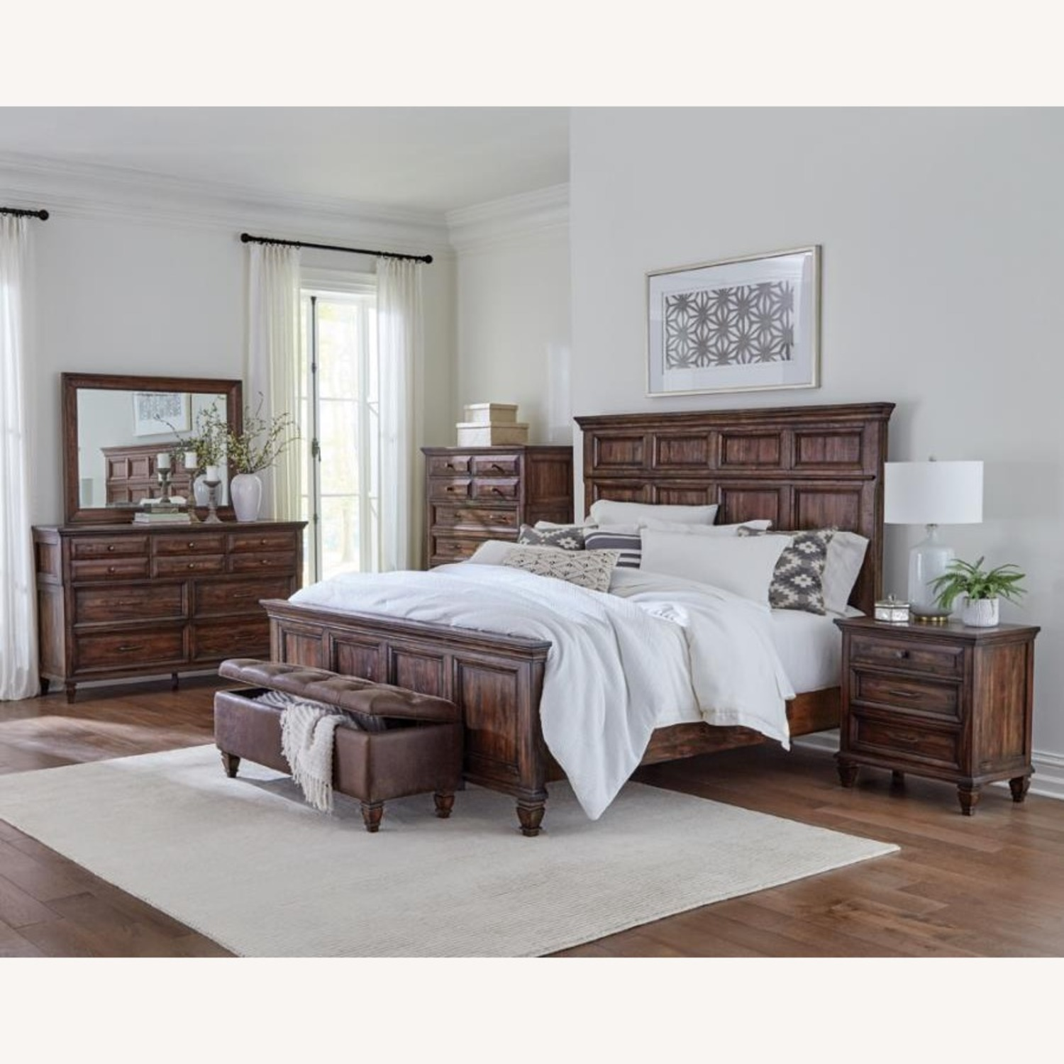 King Bed In Weathered Brown Finish - image-2