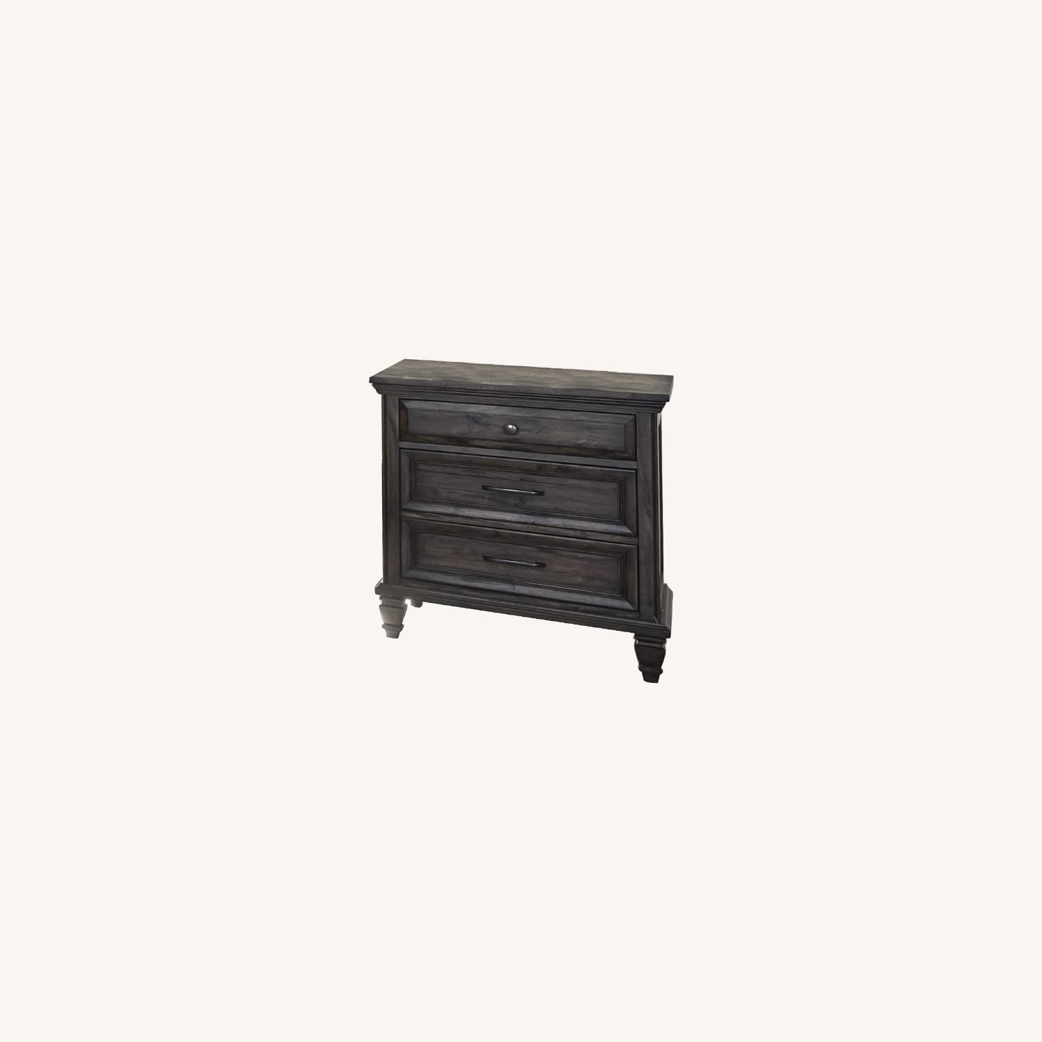 Nightstand W/ USB Port In Weathered Brown Finish - image-3