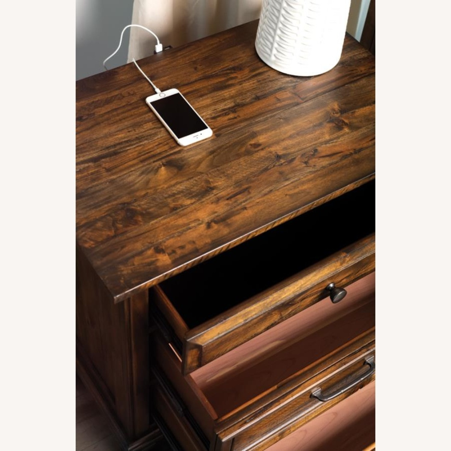 Nightstand W/ USB Port In Weathered Brown Finish - image-1