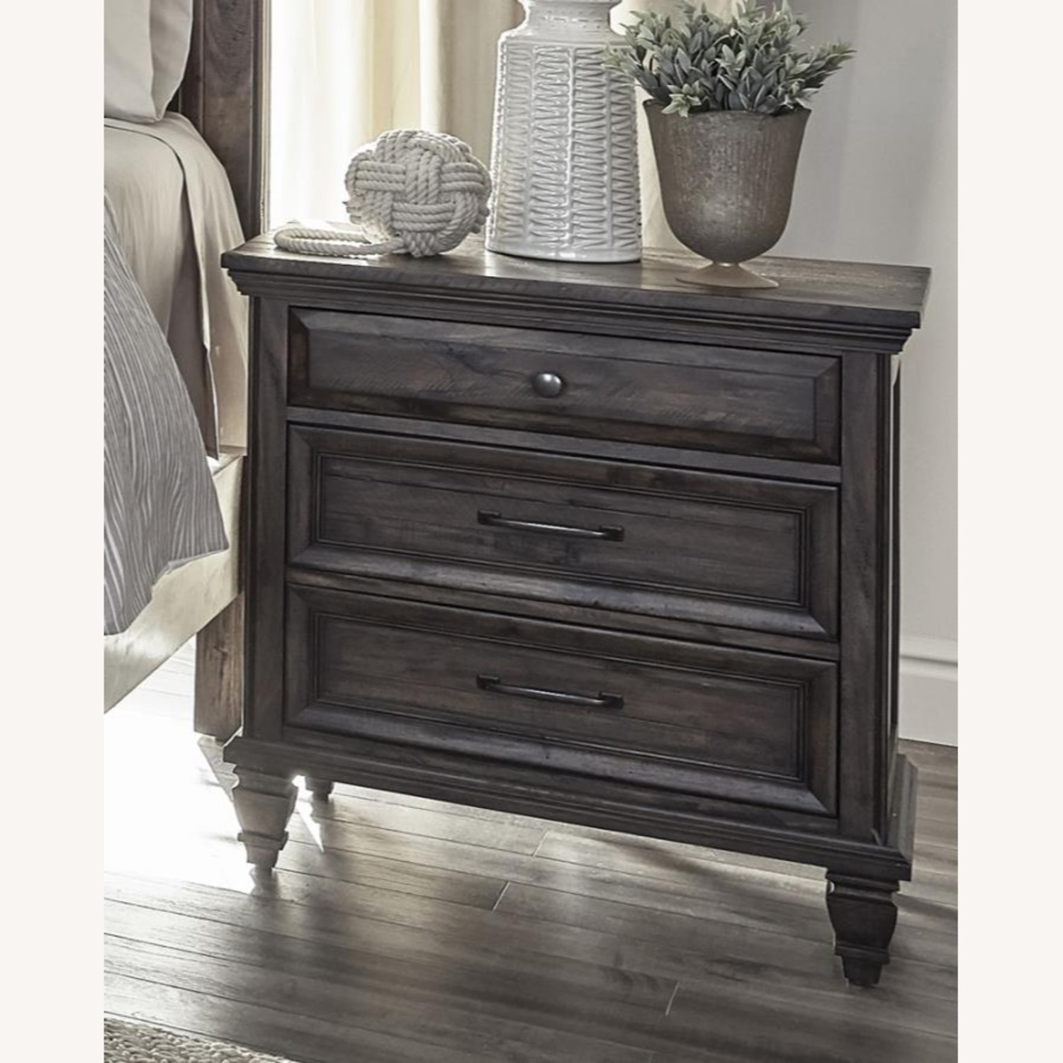Nightstand W/ USB Port In Weathered Brown Finish - image-0