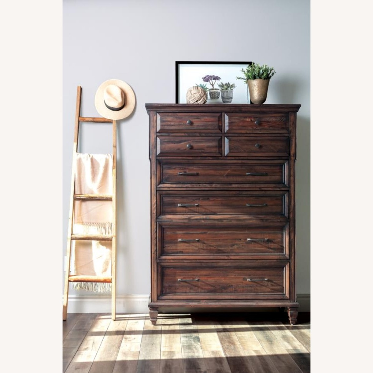 Chest W/ 8 Drawers In Weathered Burnished Brown - image-1