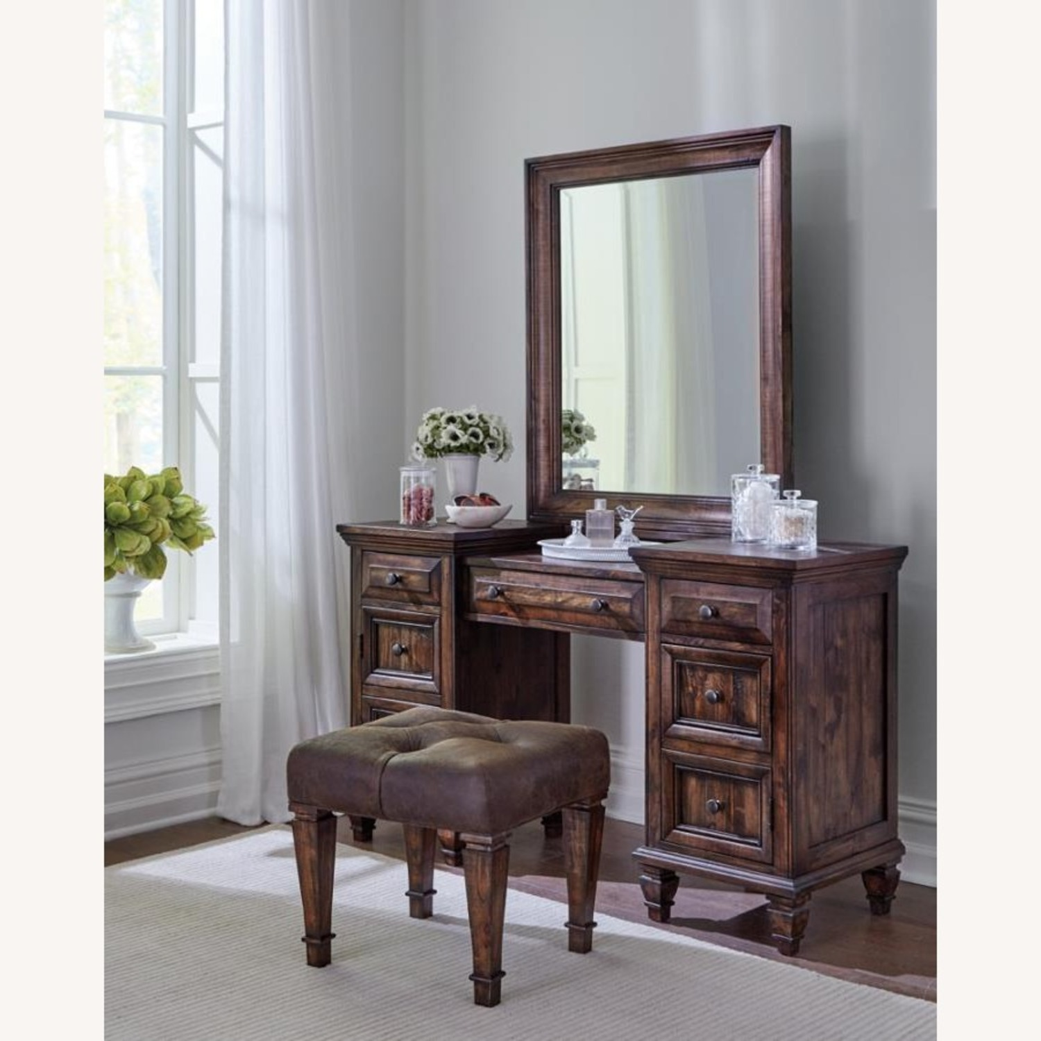 Vanity Mirror In Weathered Burnished Brown Finish - image-1