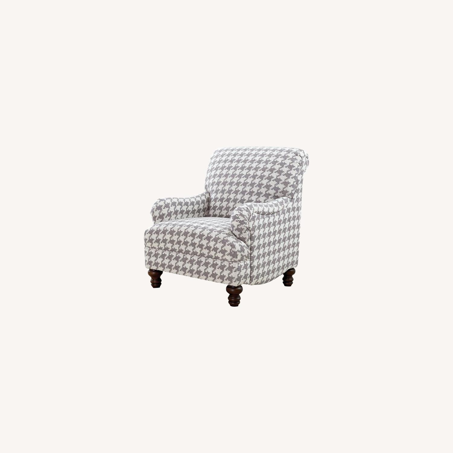 Accent Chair In Grey W Houndstooth Pattern - image-3