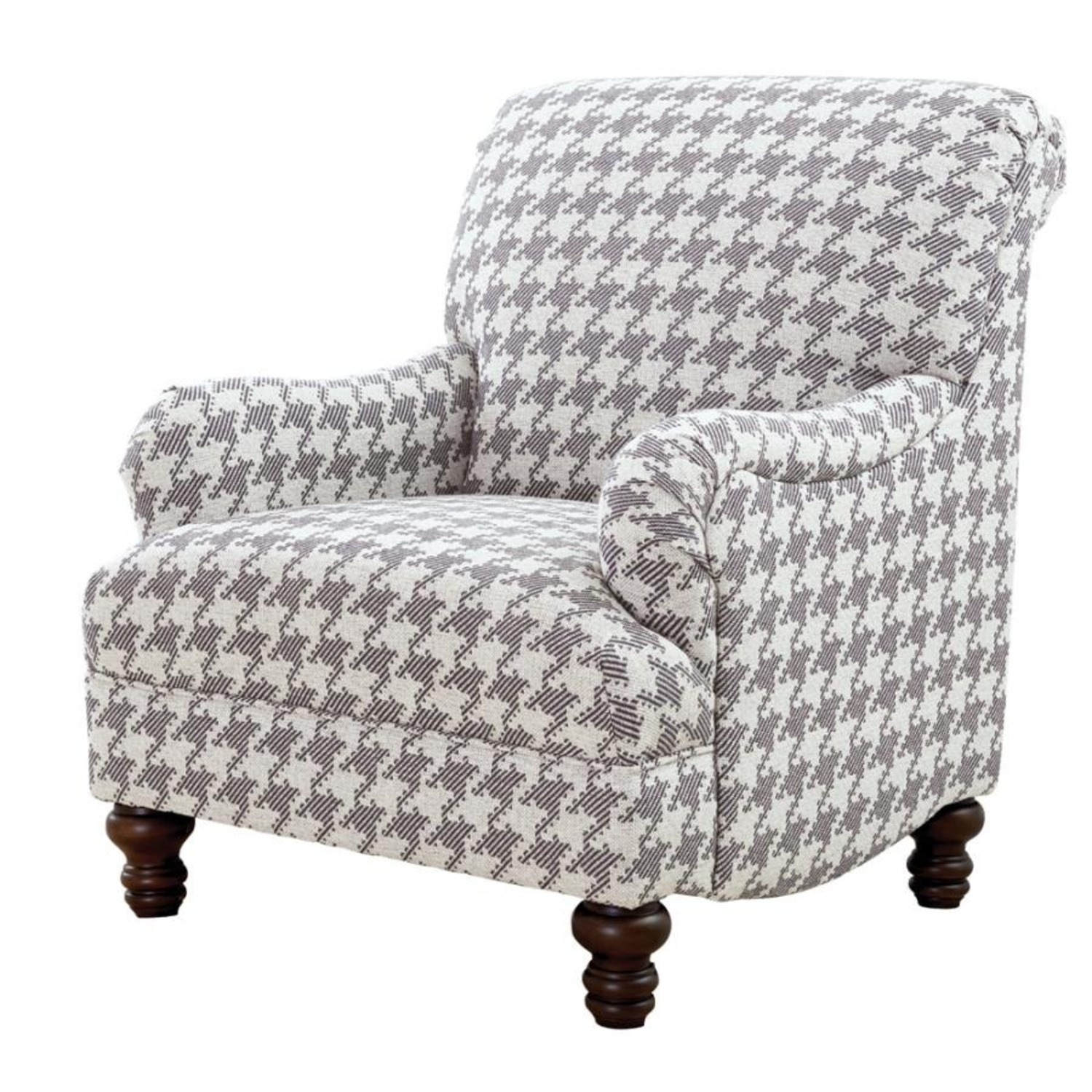 Accent Chair In Grey W Houndstooth Pattern - image-0