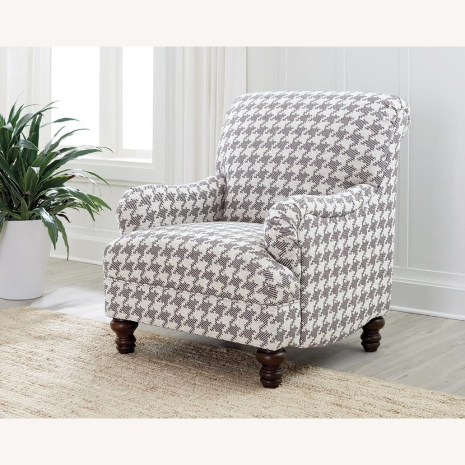 Accent Chair In Grey W Houndstooth Pattern - image-1