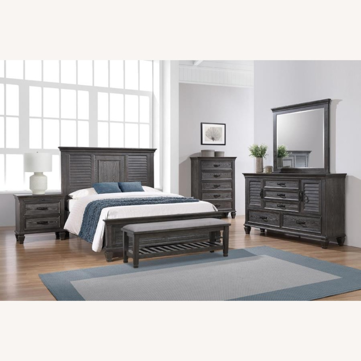 Queen Bed In Trendy Weathered Sage Finish - image-2